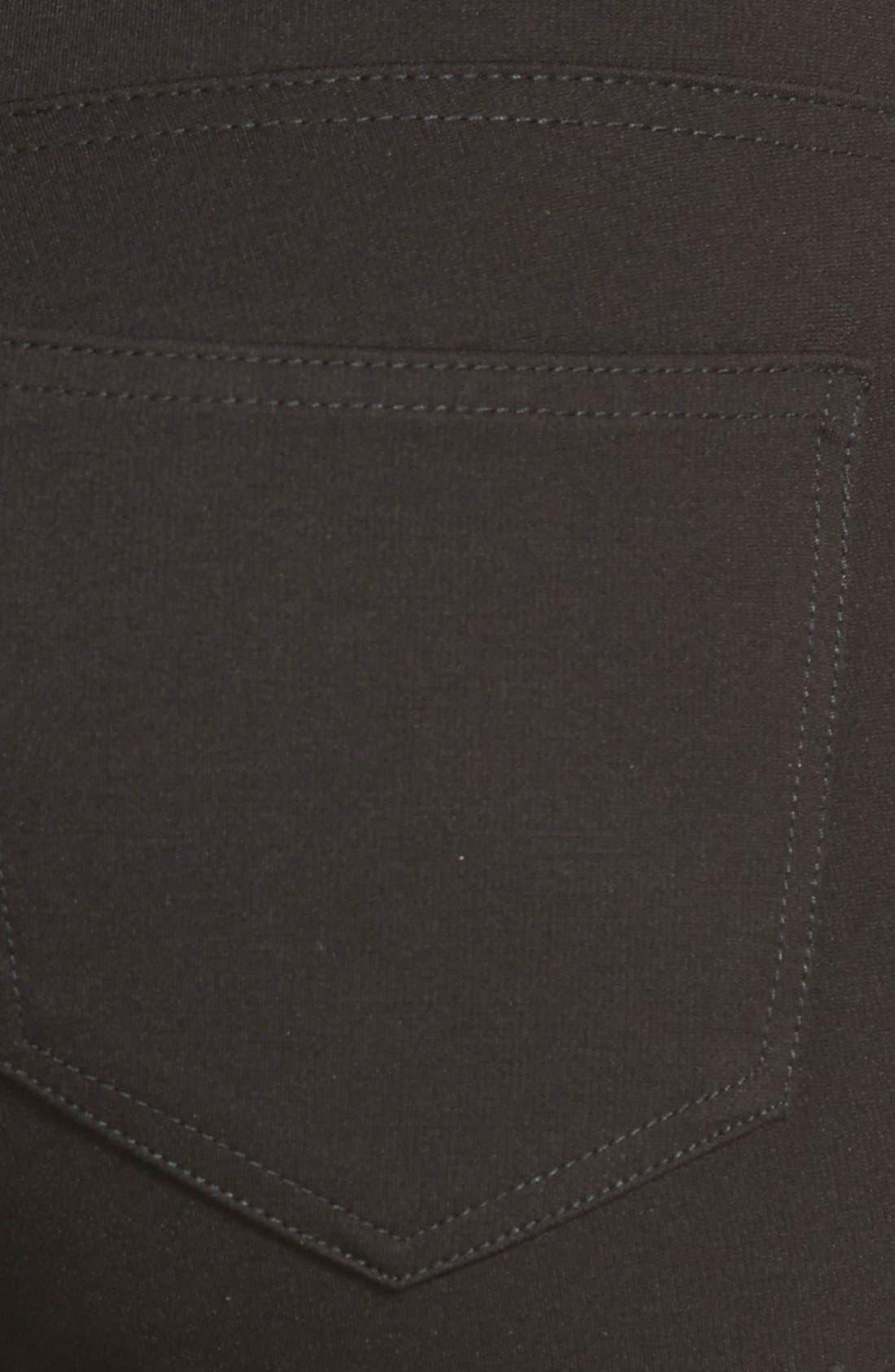 'Mia' Stretch Knit Five-Pocket Skinny Pants,                             Alternate thumbnail 3, color,                             Black