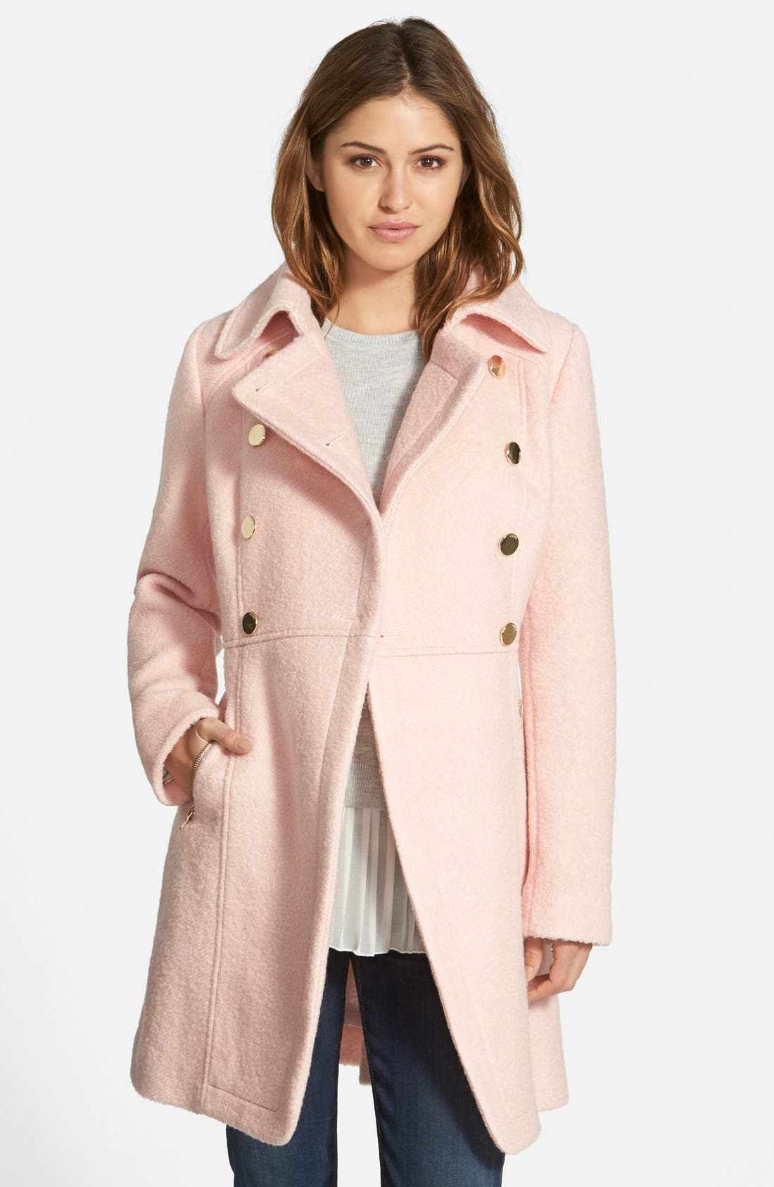 GUESS Double Breasted Bouclé Cutaway Coat (Regular ...