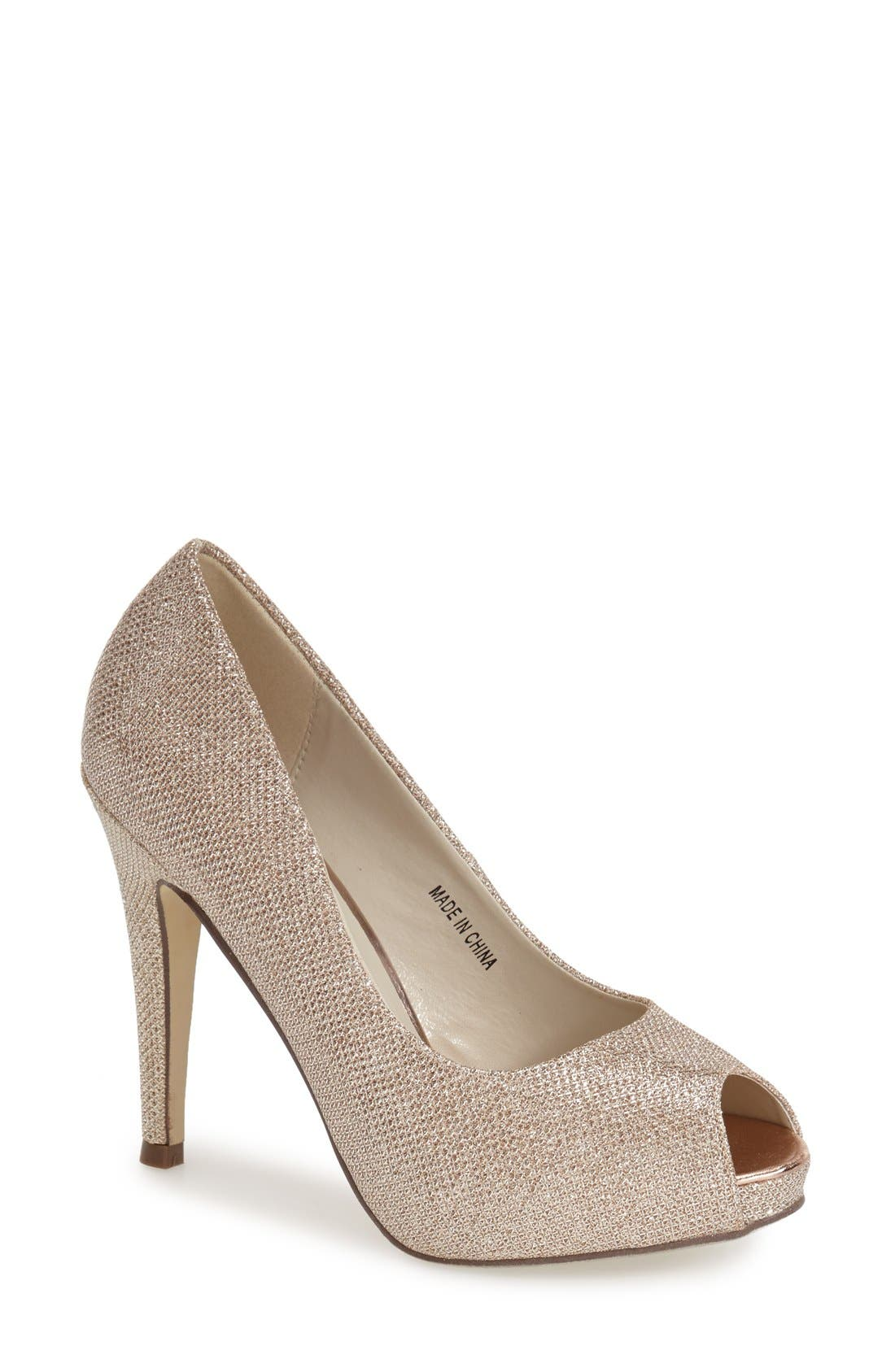 Alternate Image 1 Selected - pink paradox london 'Yummy' Glitter Peep Toe Pump (Women)