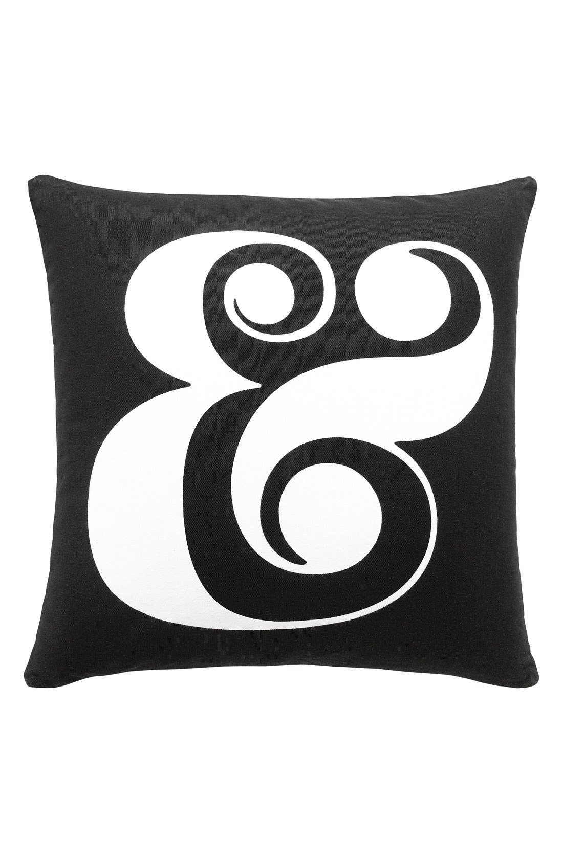 'ampersand' pillow,                         Main,                         color, Black/ White