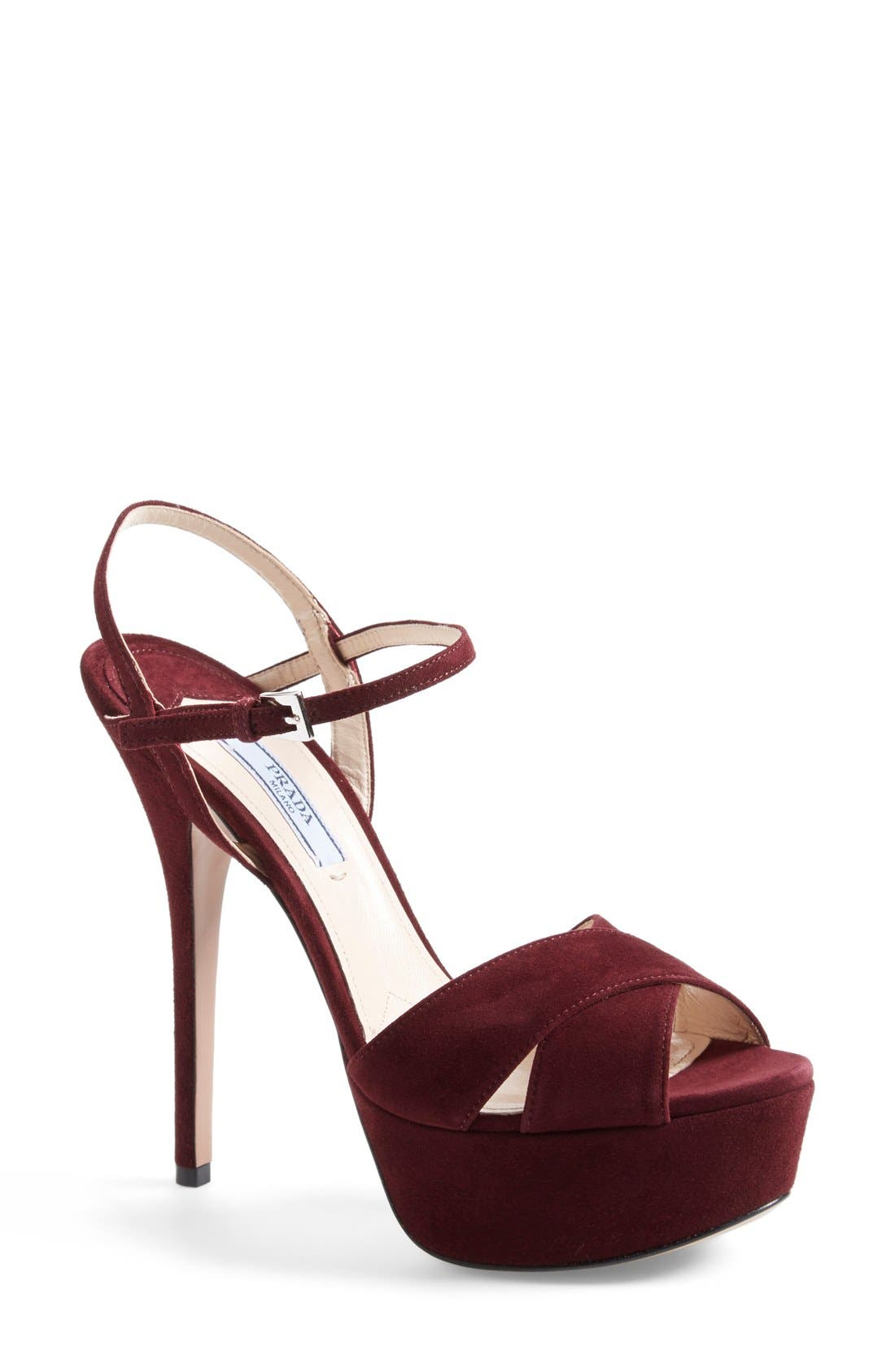 Strappy Sandal,                             Main thumbnail 1, color,                             Burgundy Suede