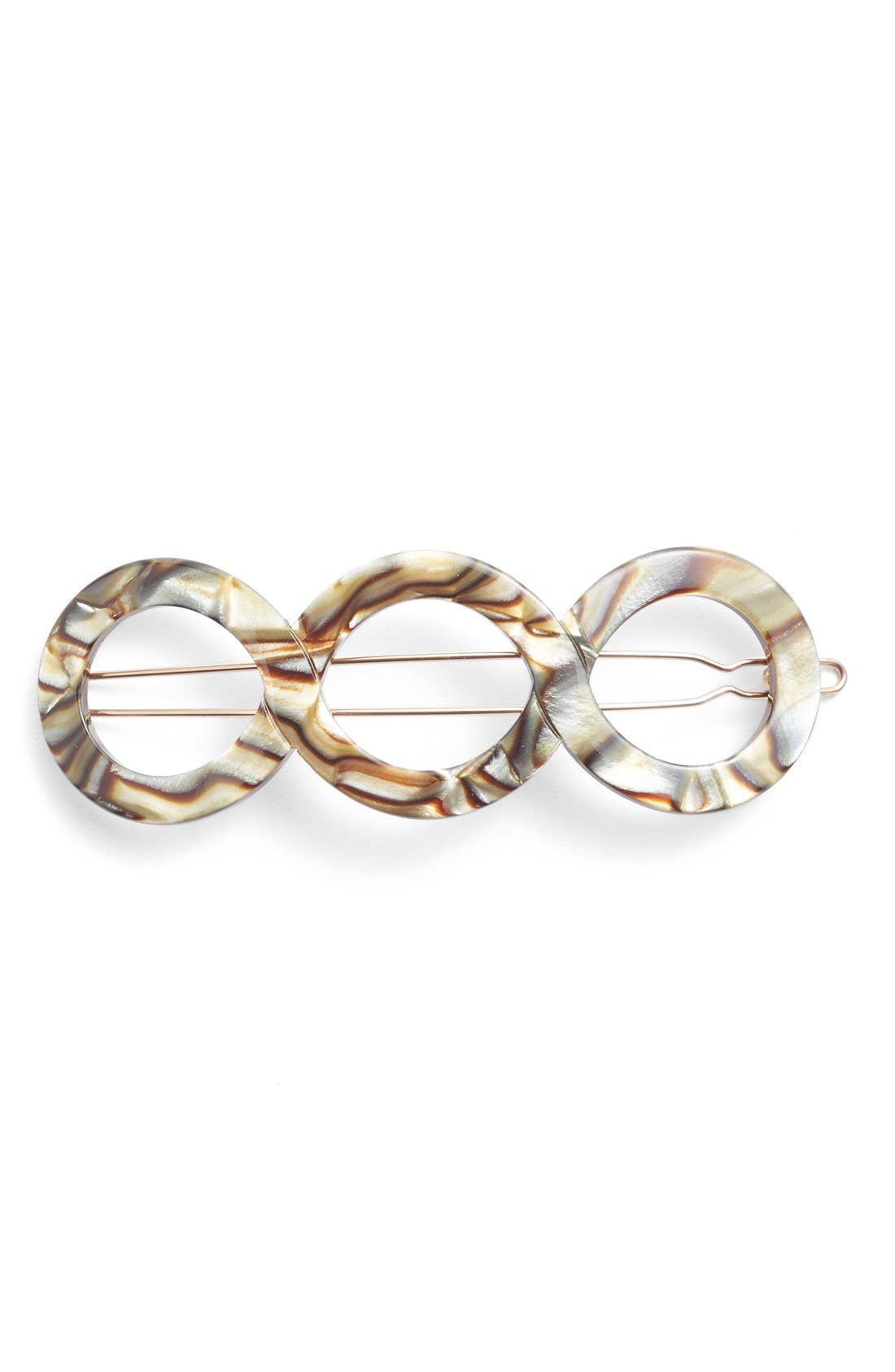 Triple Circle Tige Boule Barrette,                             Main thumbnail 1, color,                             Onyx