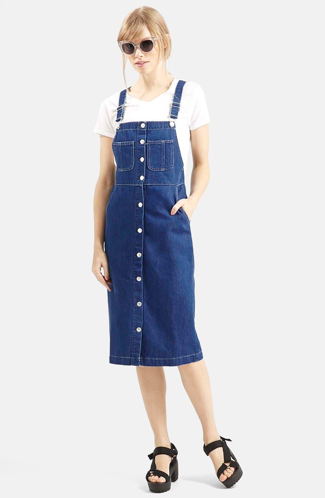 Main Image - Topshop Moto Vintage Wash Midi Pinafore Dress