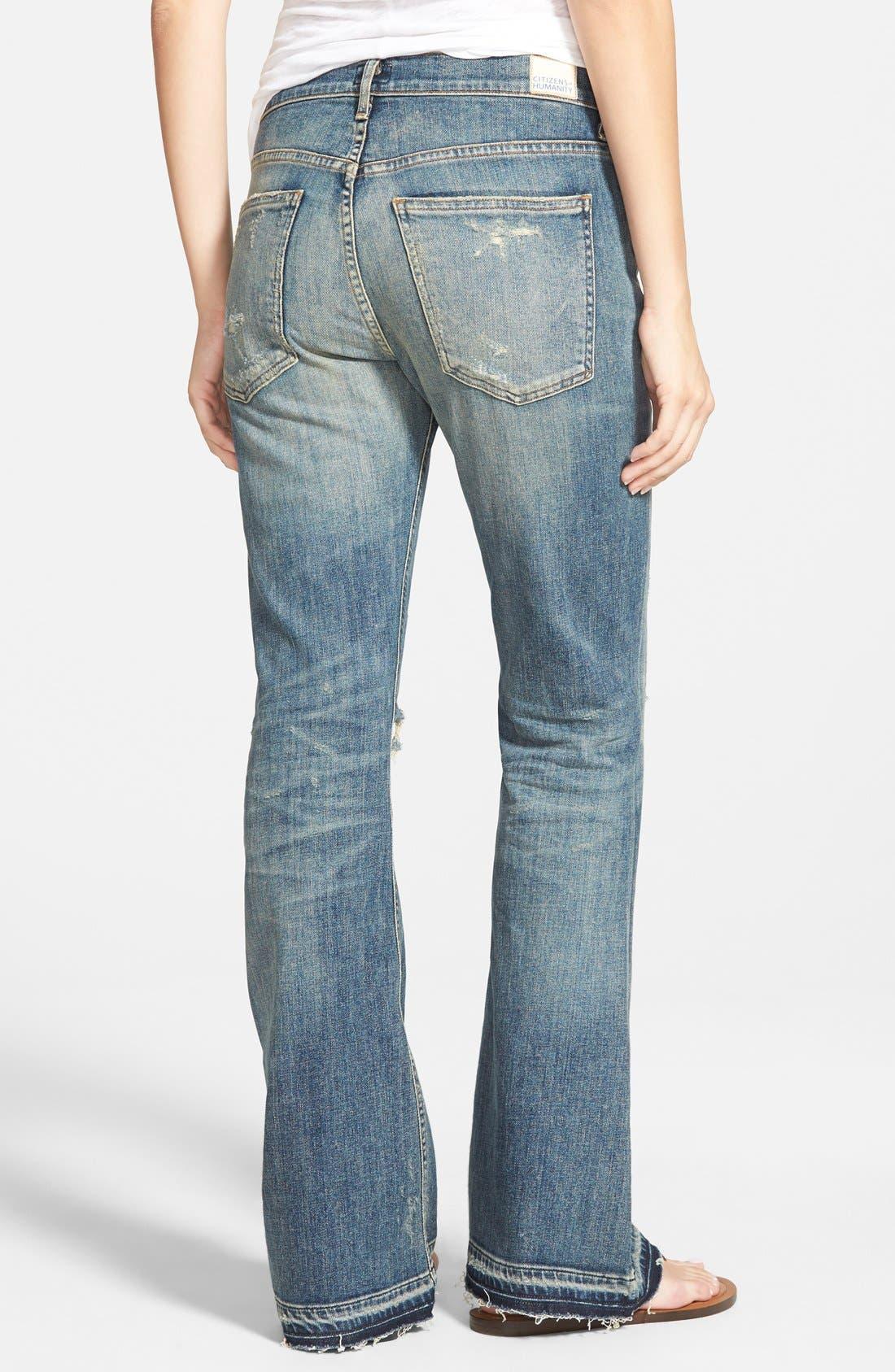 'Drew Flip Flop' Flare Jeans,                             Alternate thumbnail 2, color,                             Rip It Up