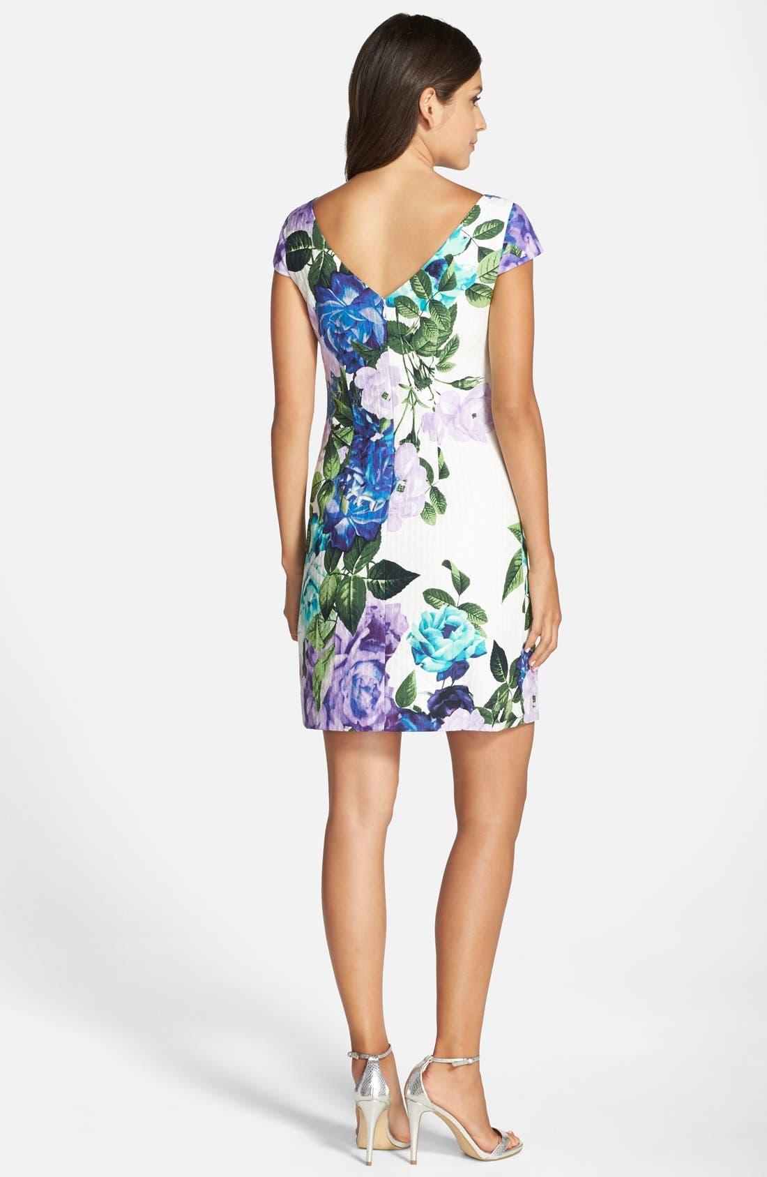Alternate Image 2  - Eliza J Floral Jacquard Cotton Shift Dress (Regular & Petite)
