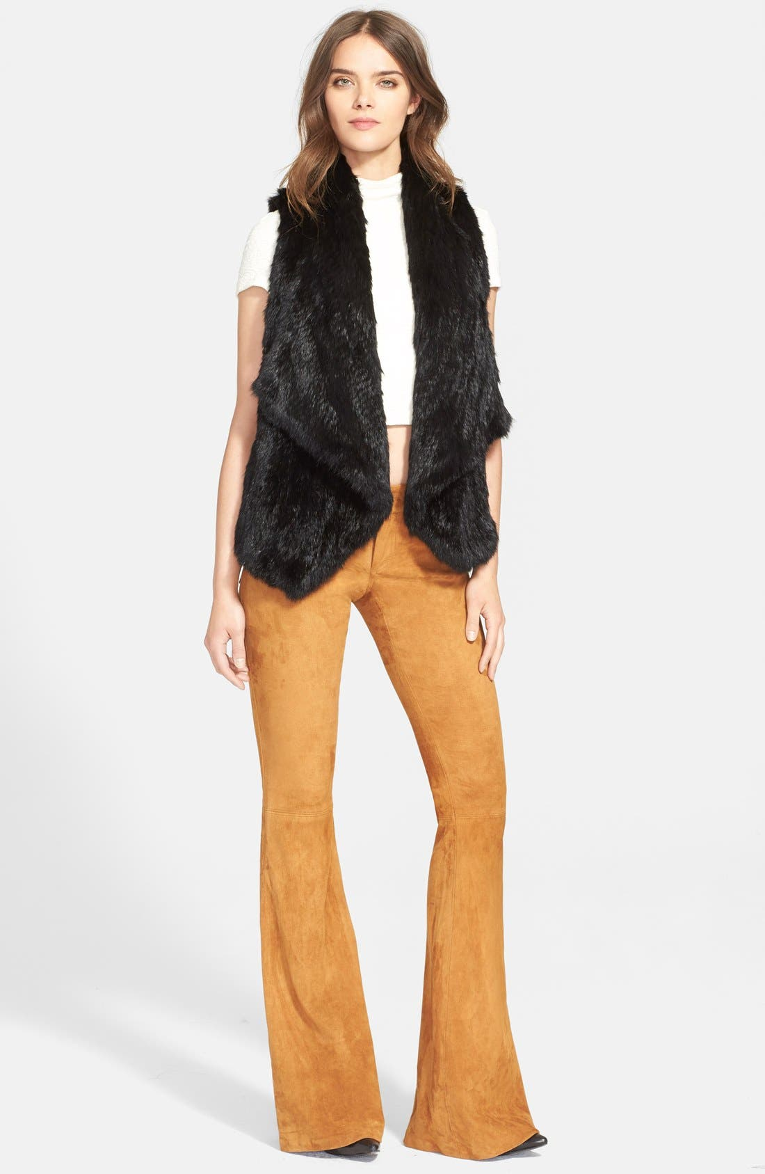'Harriet' Genuine Rabbit Fur Vest,                             Alternate thumbnail 4, color,                             Black