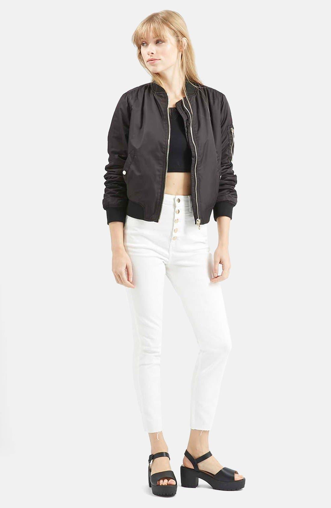 Alternate Image 5  - Topshop Moto 'Binx' Button Front Slim Jeans (White)