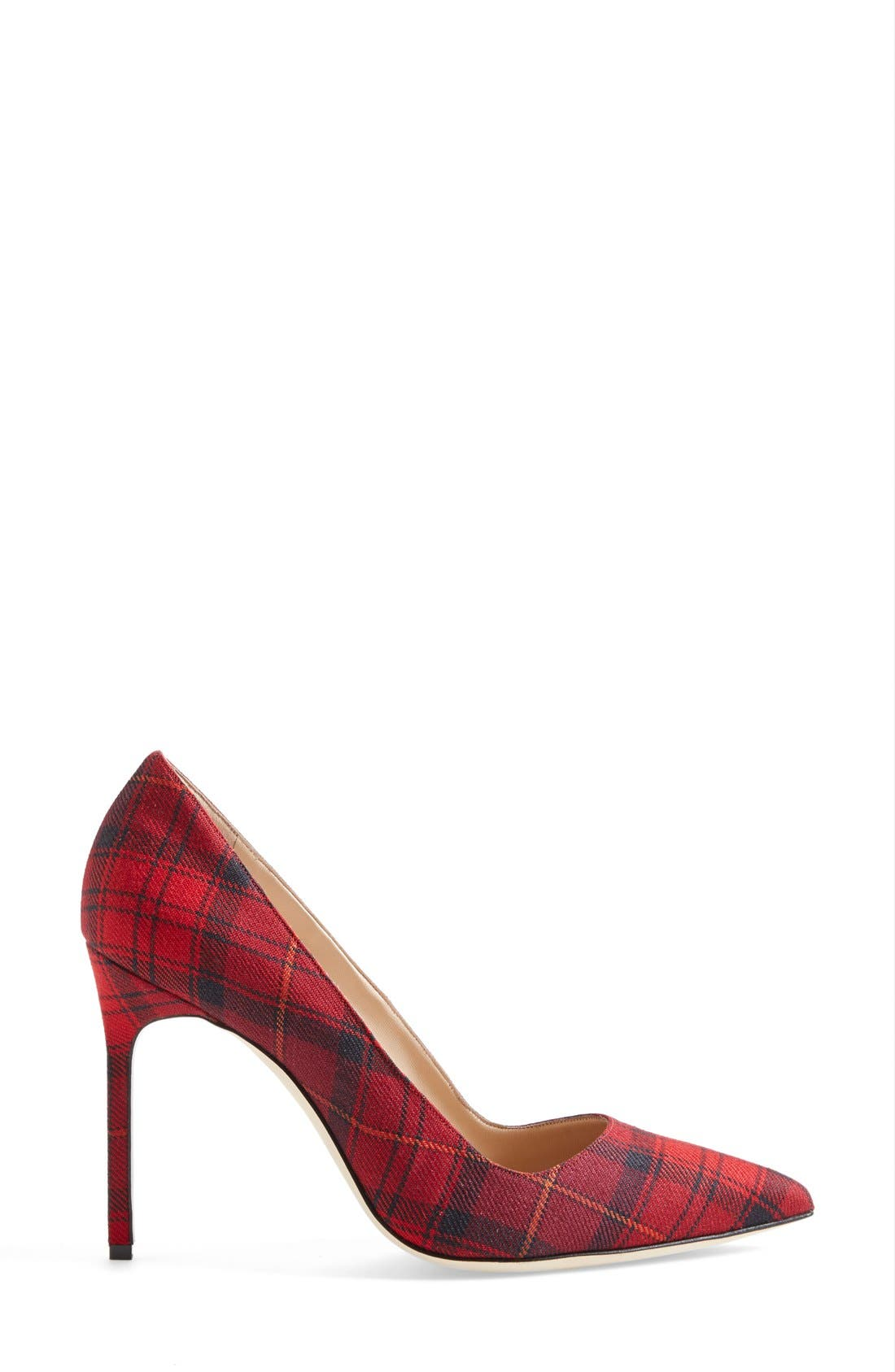 BB Pointy Toe Pump,                             Alternate thumbnail 4, color,                             Red Plaid Fabric