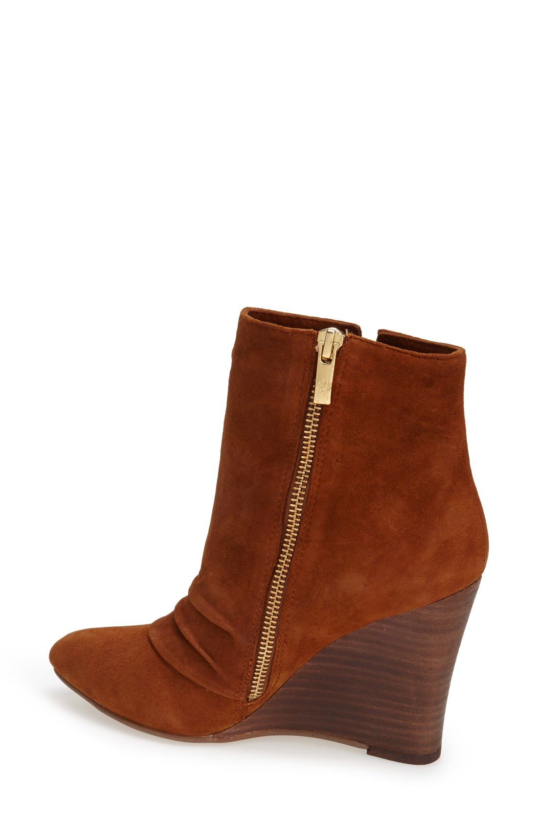 'Candyce' Wedge Bootie,                             Alternate thumbnail 2, color,                             Ginger Suede