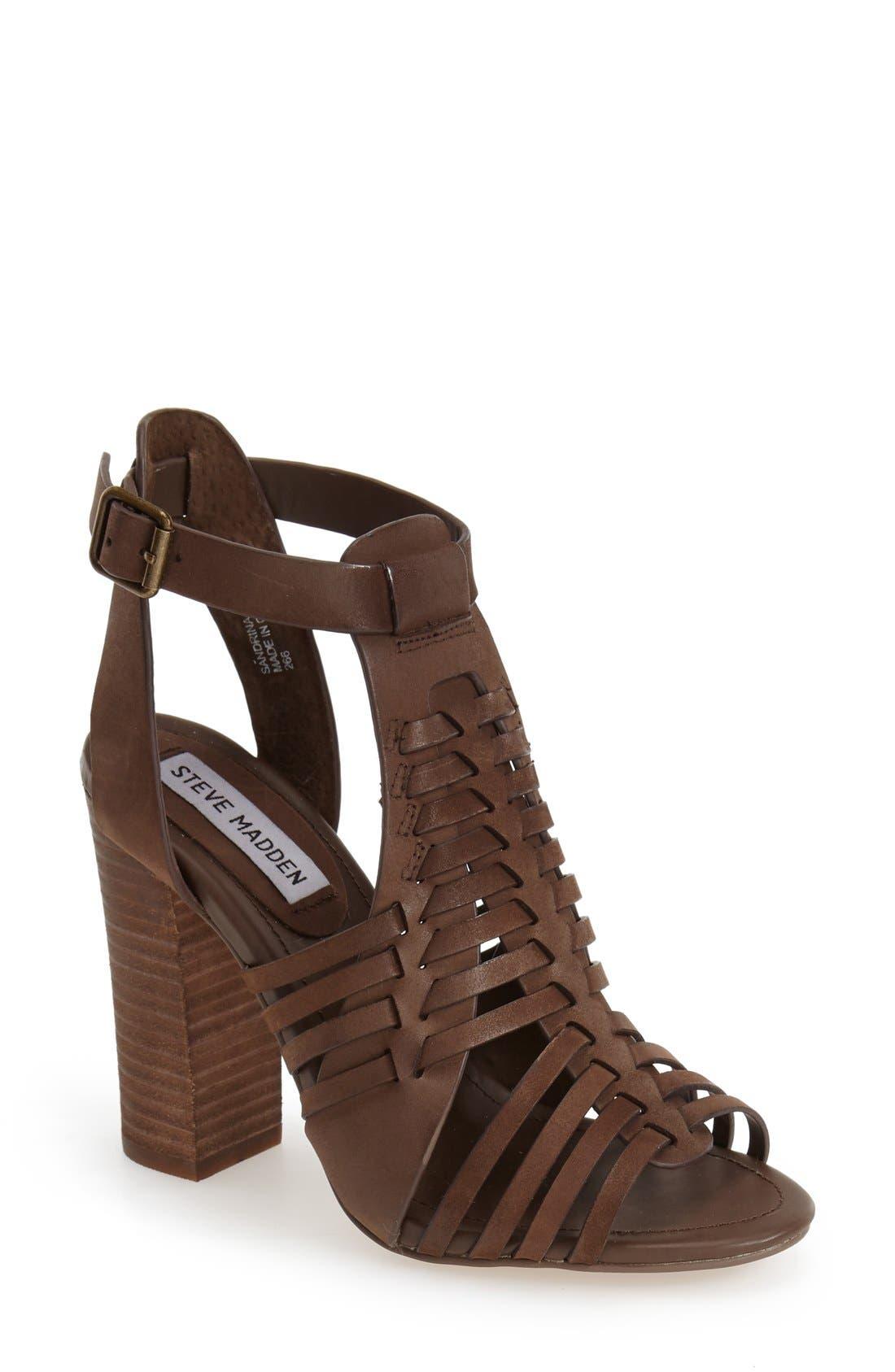 'Sandrina' Huarache Sandal,                         Main,                         color, Brown Leather