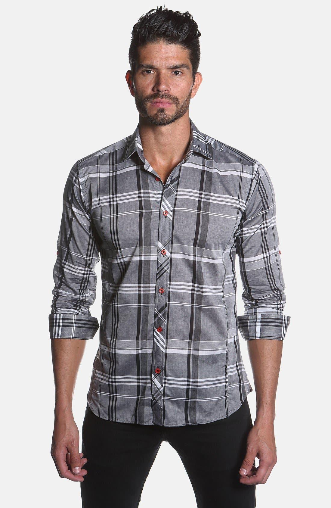 Trim Fit Plaid Sport Shirt,                             Alternate thumbnail 4, color,                             Grey Plaid