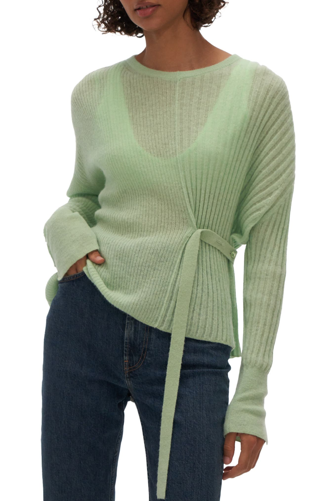 Helmut Lang Wool Blocked Linen Sweater Small NWT New Beige Sage Knit Top Pullove