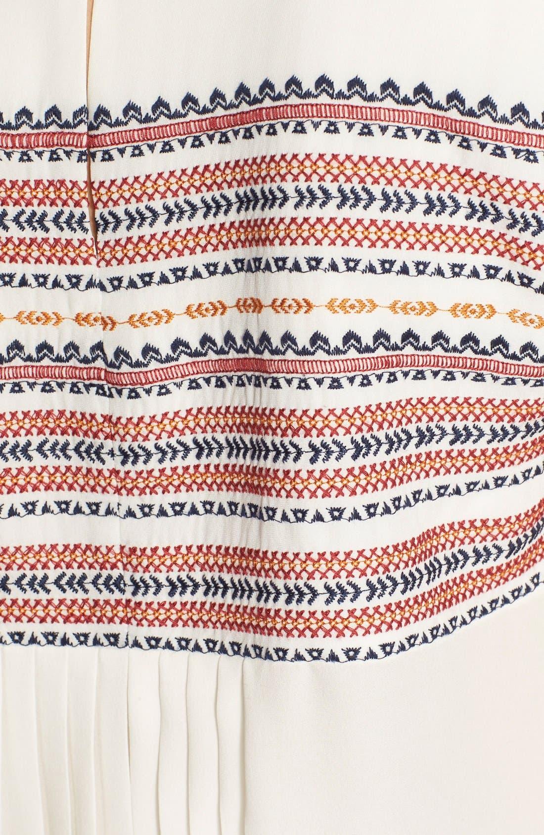 Alternate Image 3  - Veronica Beard 'Clover' Embroidered Silk Georgette Tee