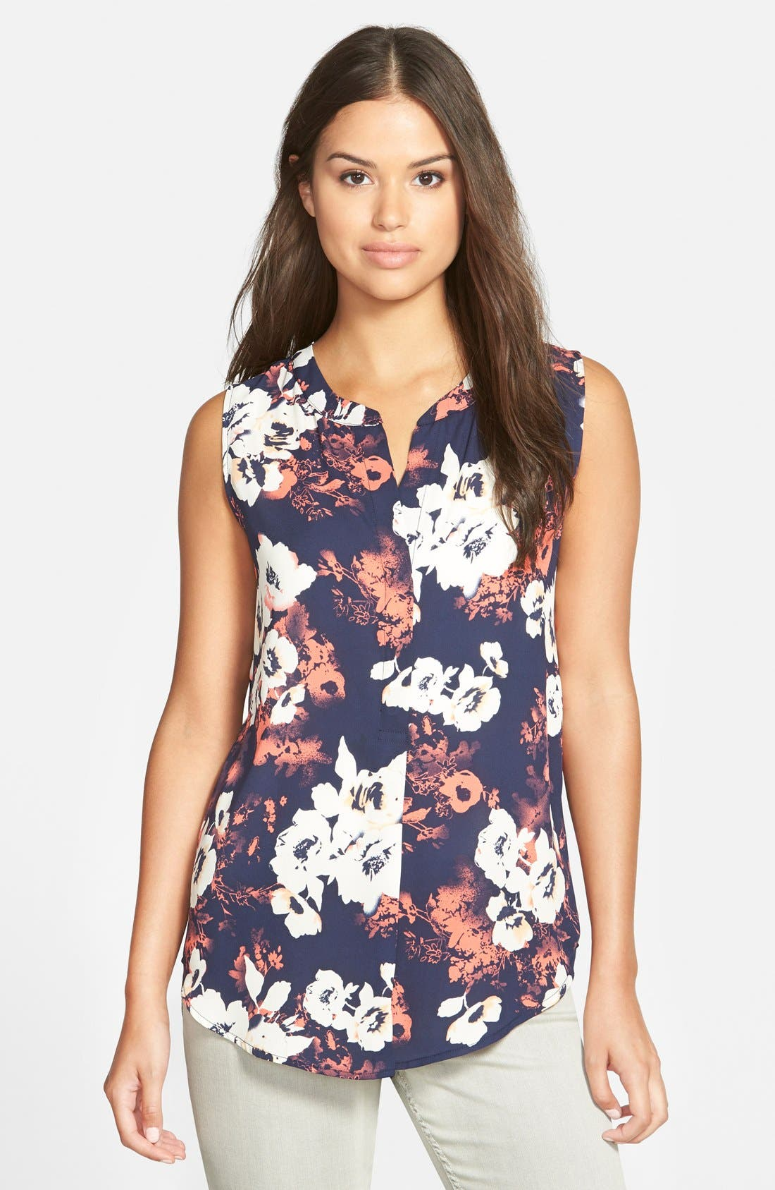 Sleeveless High/Low Top,                         Main,                         color, Coral Floral