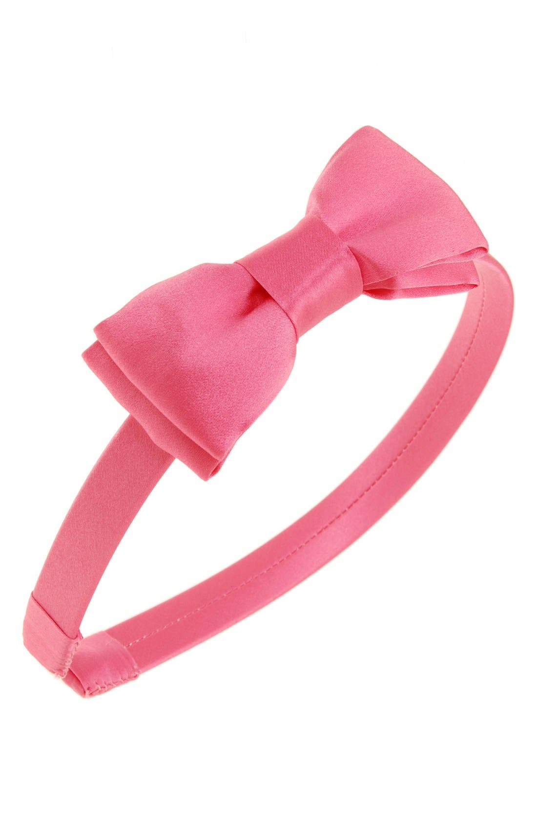 Main Image - L. Erickson 'Blair' Silk Bow Headband (Girls)