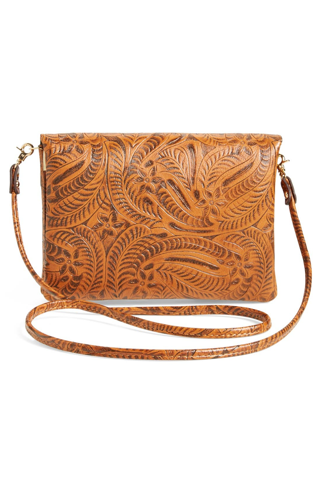 Tooled Crossbody,                             Alternate thumbnail 3, color,                             Brown