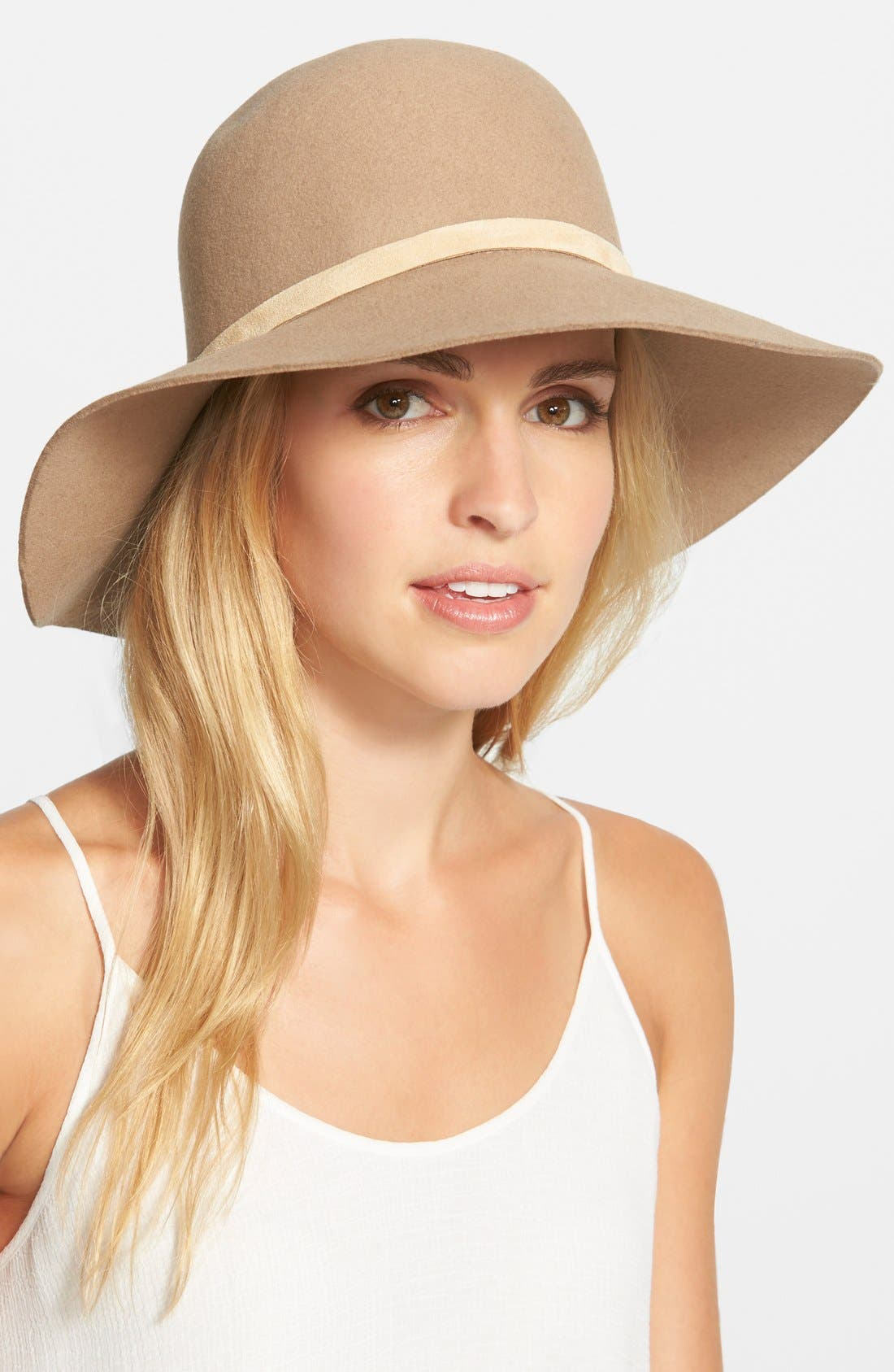 'Dunaway' Wide Brim Wool Hat,                         Main,                         color, Camel