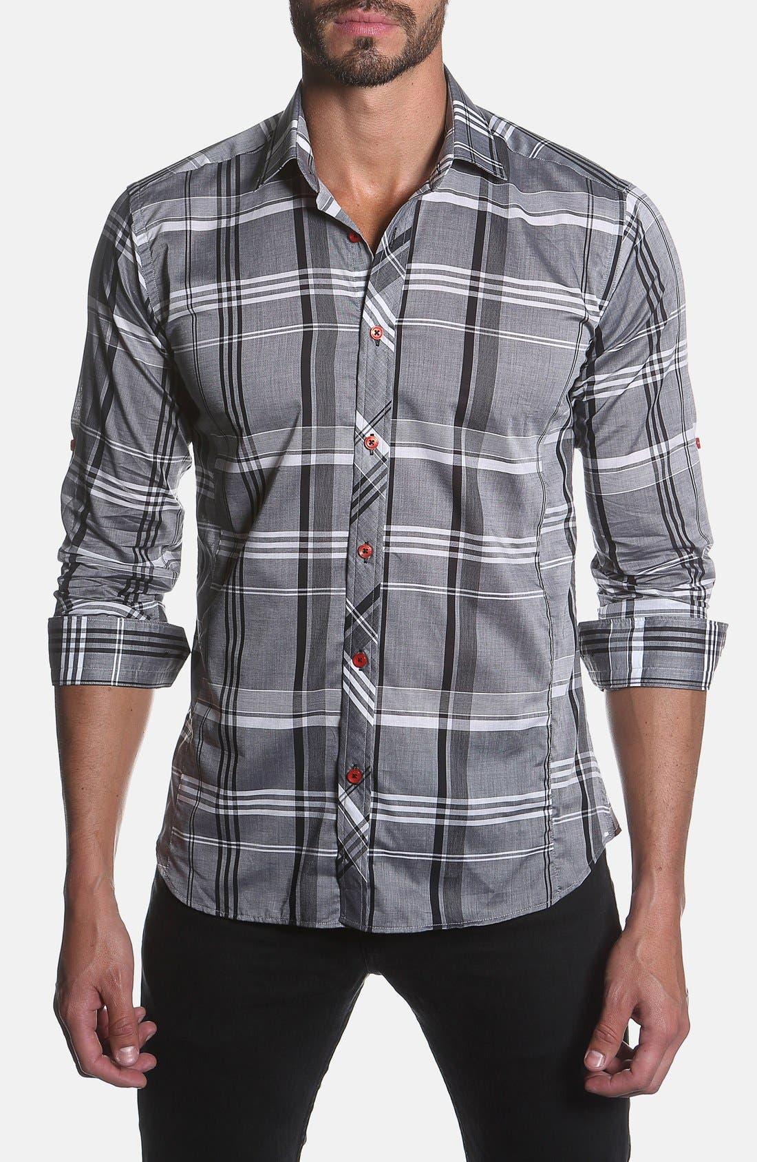 Trim Fit Plaid Sport Shirt,                             Main thumbnail 1, color,                             Grey Plaid
