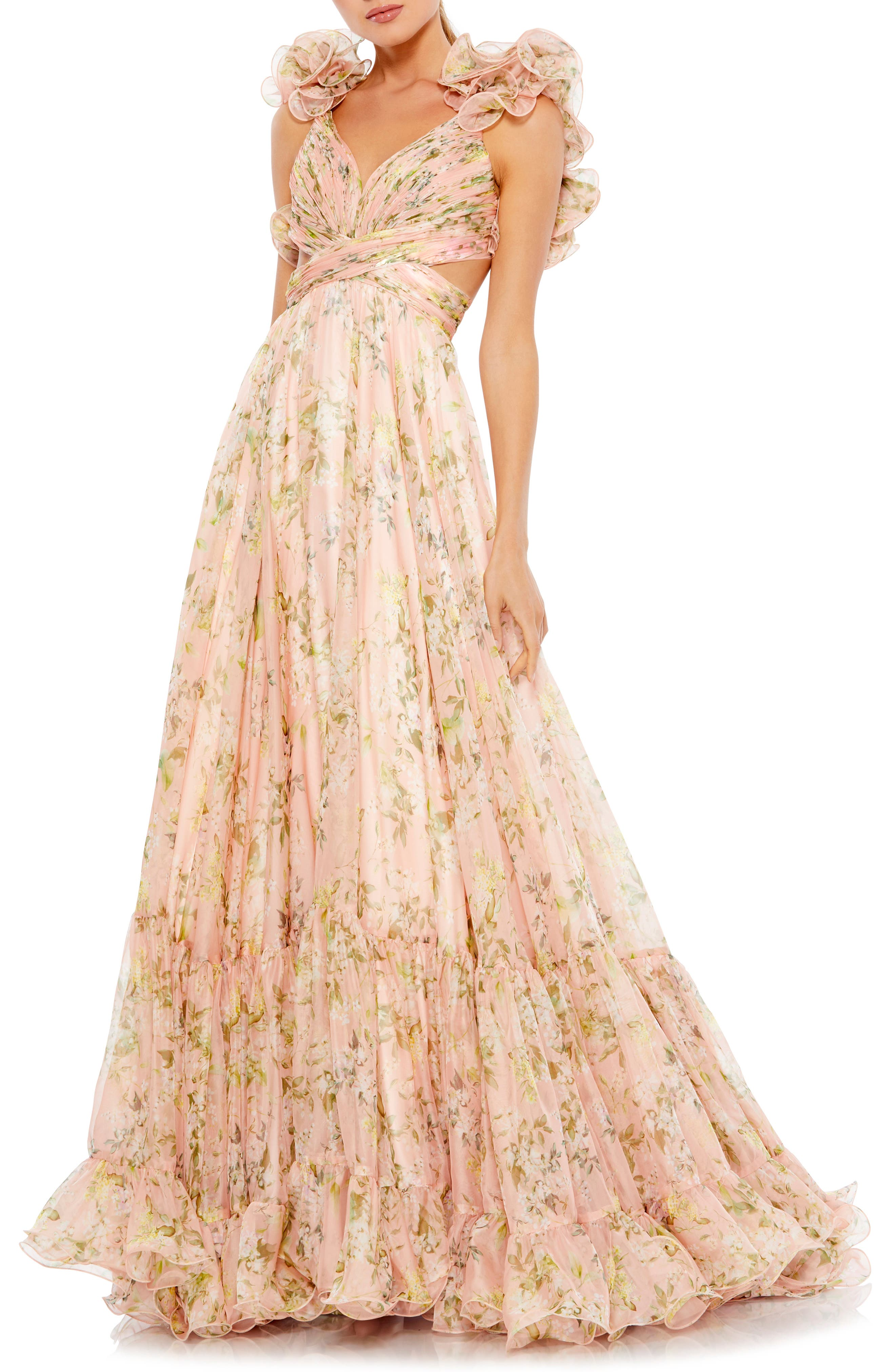 Womens A-line Ball Gown Printed Floral V-neck High Waist Evening Party Dress Hot
