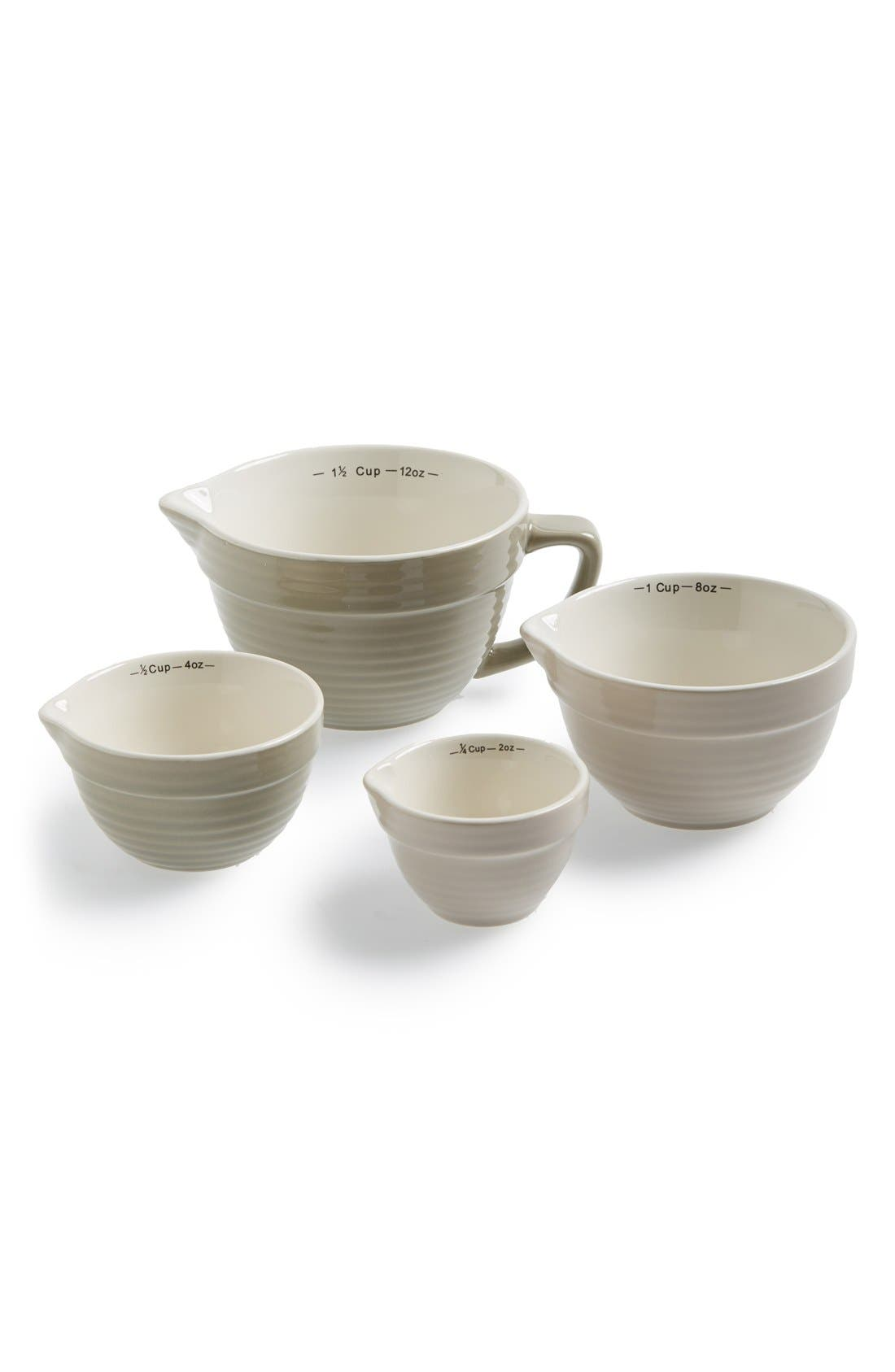 Stoneware Measuring Cups,                             Main thumbnail 1, color,                             Grey