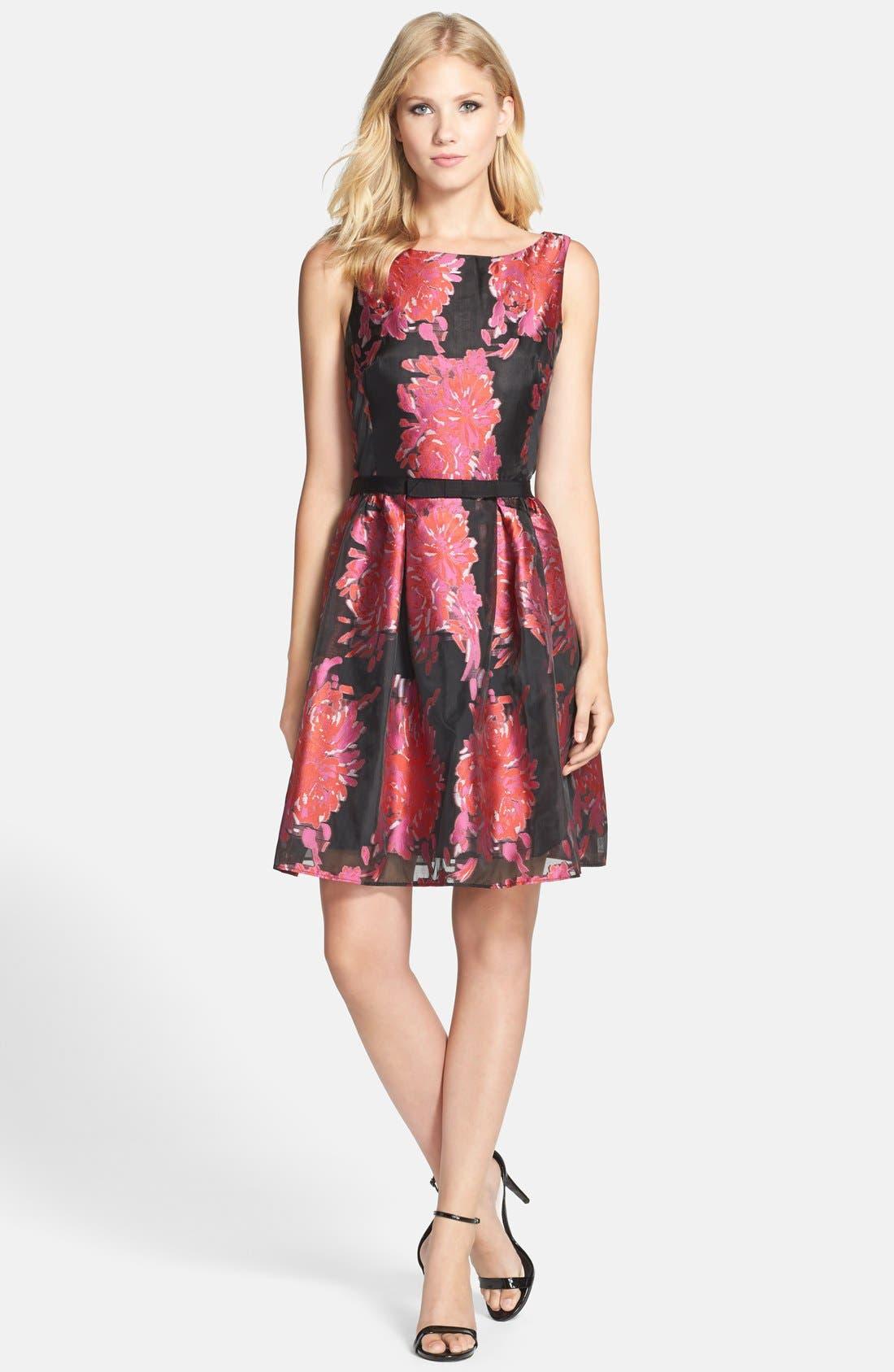 Alternate Image 3  - Taylor Dresses Floral Burnout Organza Fit & Flare Dress