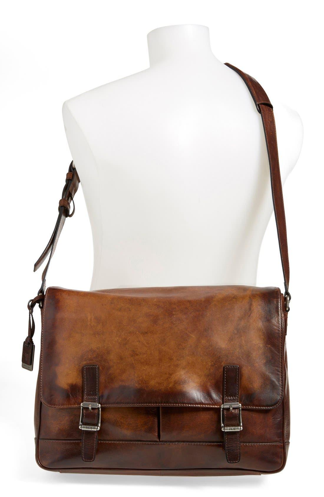 'Oliver' Leather Messenger Bag,                             Alternate thumbnail 2, color,                             Dark Brown
