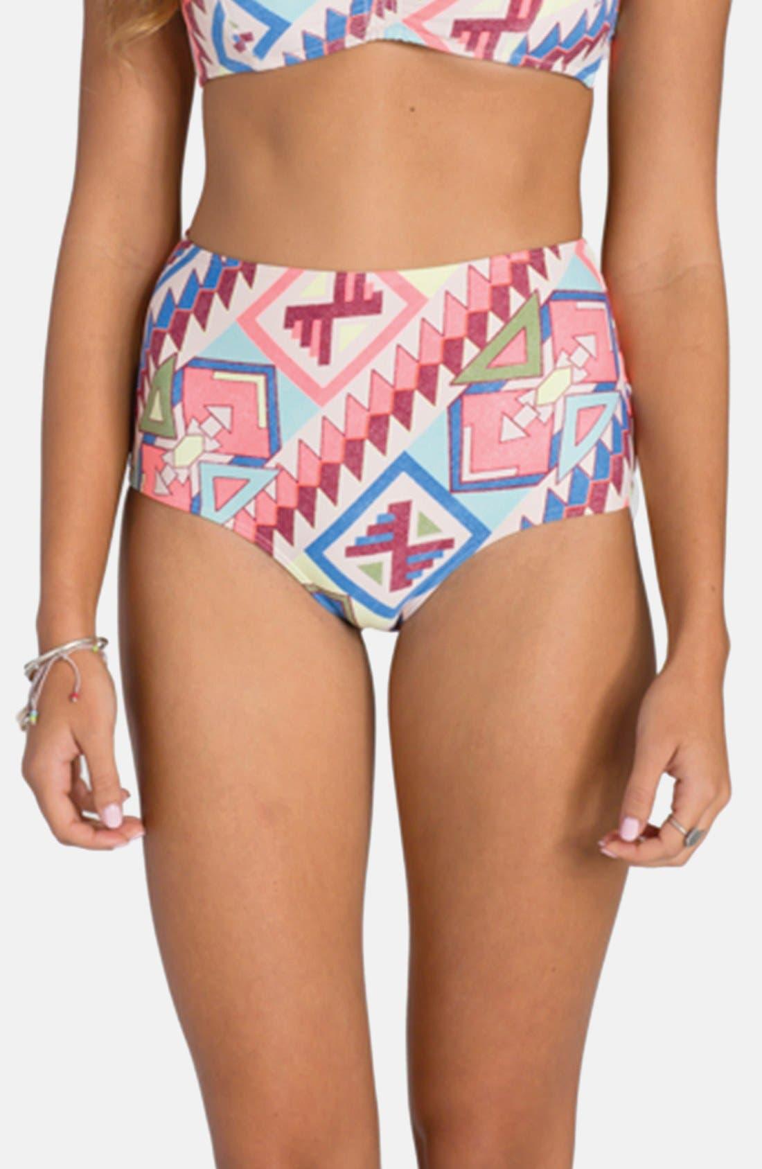 Alternate Image 1 Selected - Billabong 'Geo Harmony' High Waist Bikini Bottoms (Juniors)