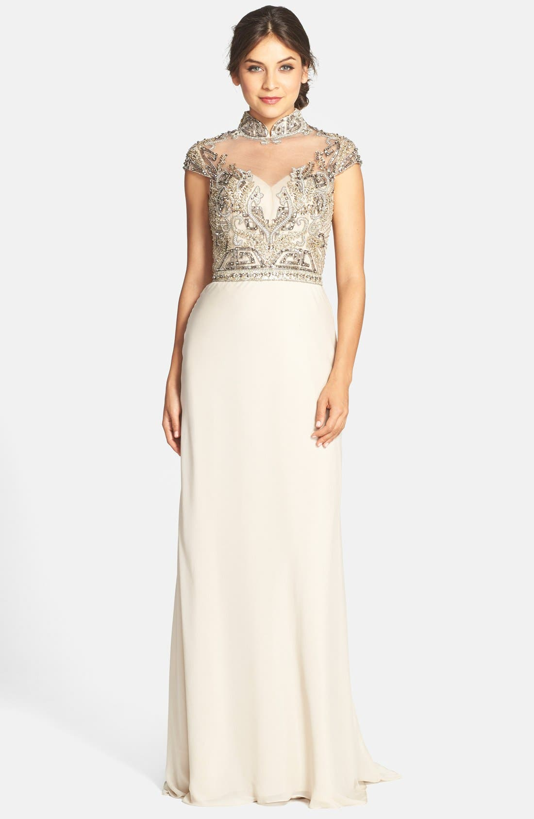 Alternate Image 1 Selected - Terani Couture Embellished High Neck Gown
