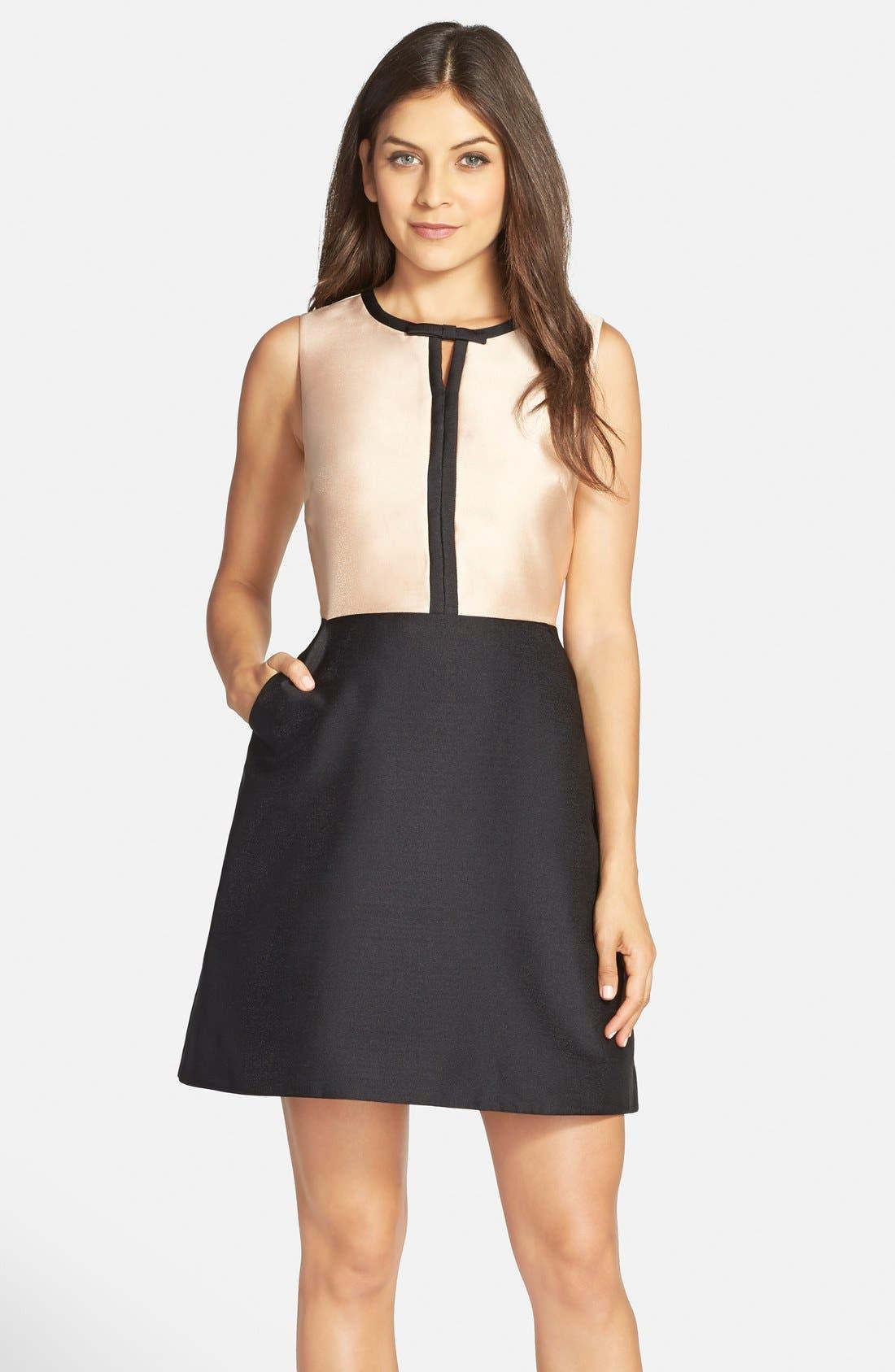 Main Image - ERIN erin fetherston 'Eliza' Colorblock Twill Fit & Flare Dress