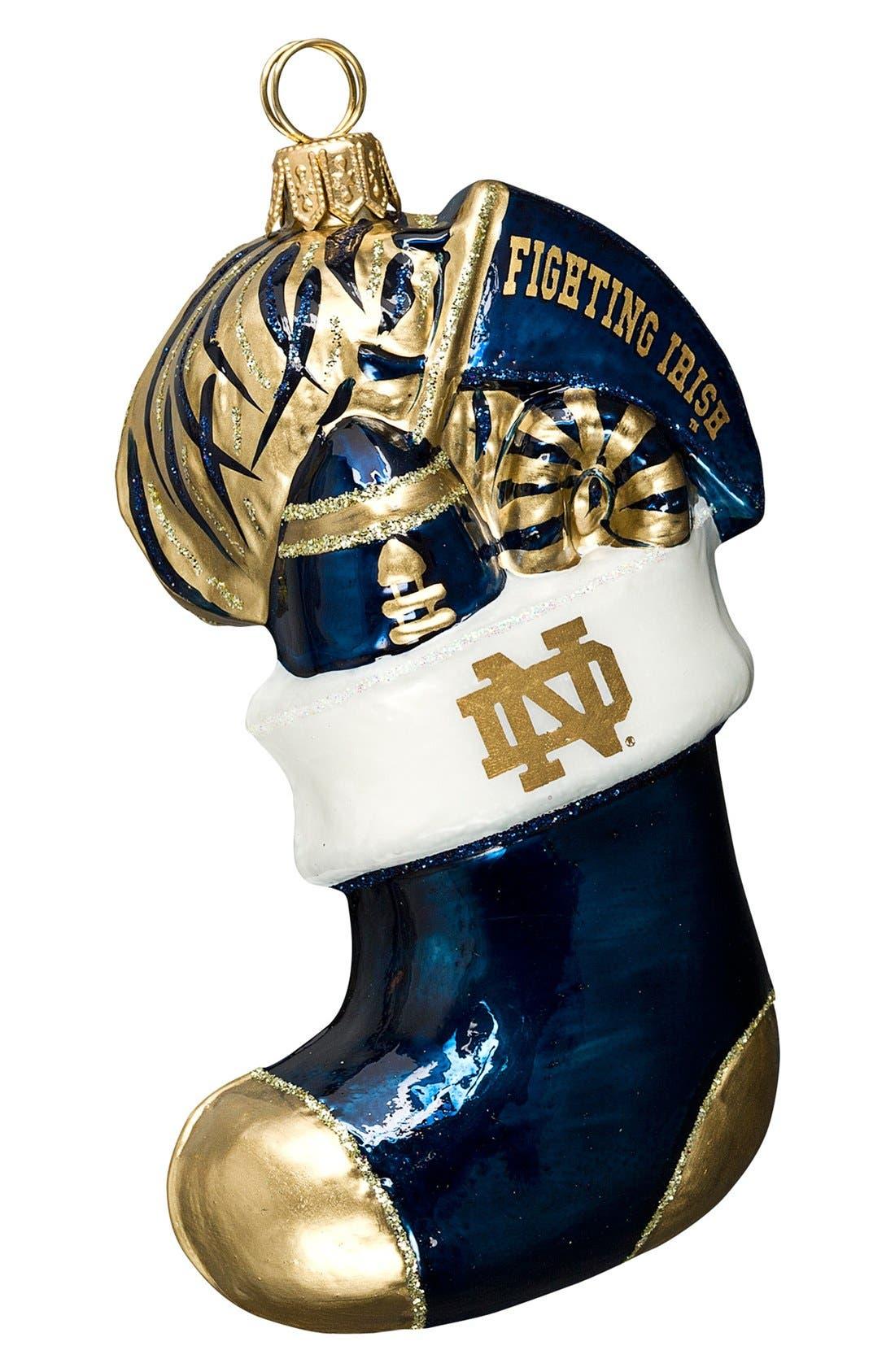 'Collegiate Stocking' Ornament,                             Main thumbnail 1, color,                             Notre Dame
