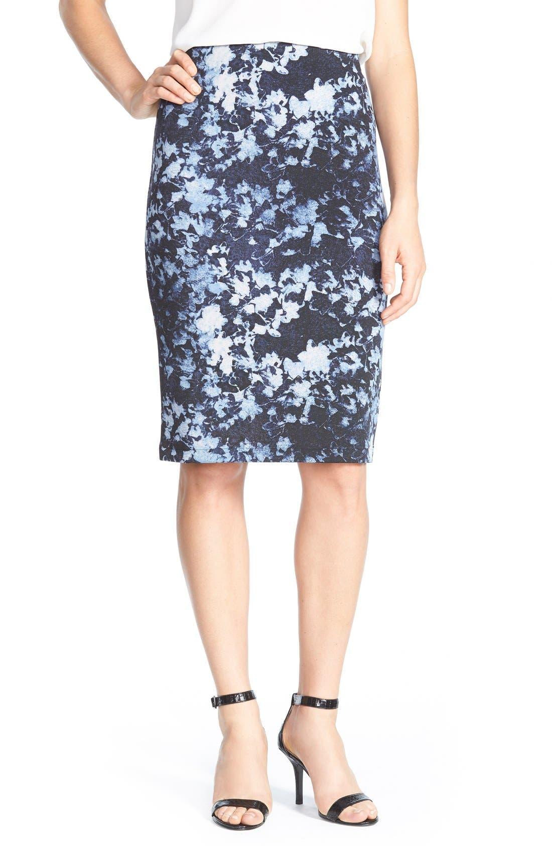 Alternate Image 1 Selected - Vince CamutoFloral Print Scuba Knit Pencil Skirt