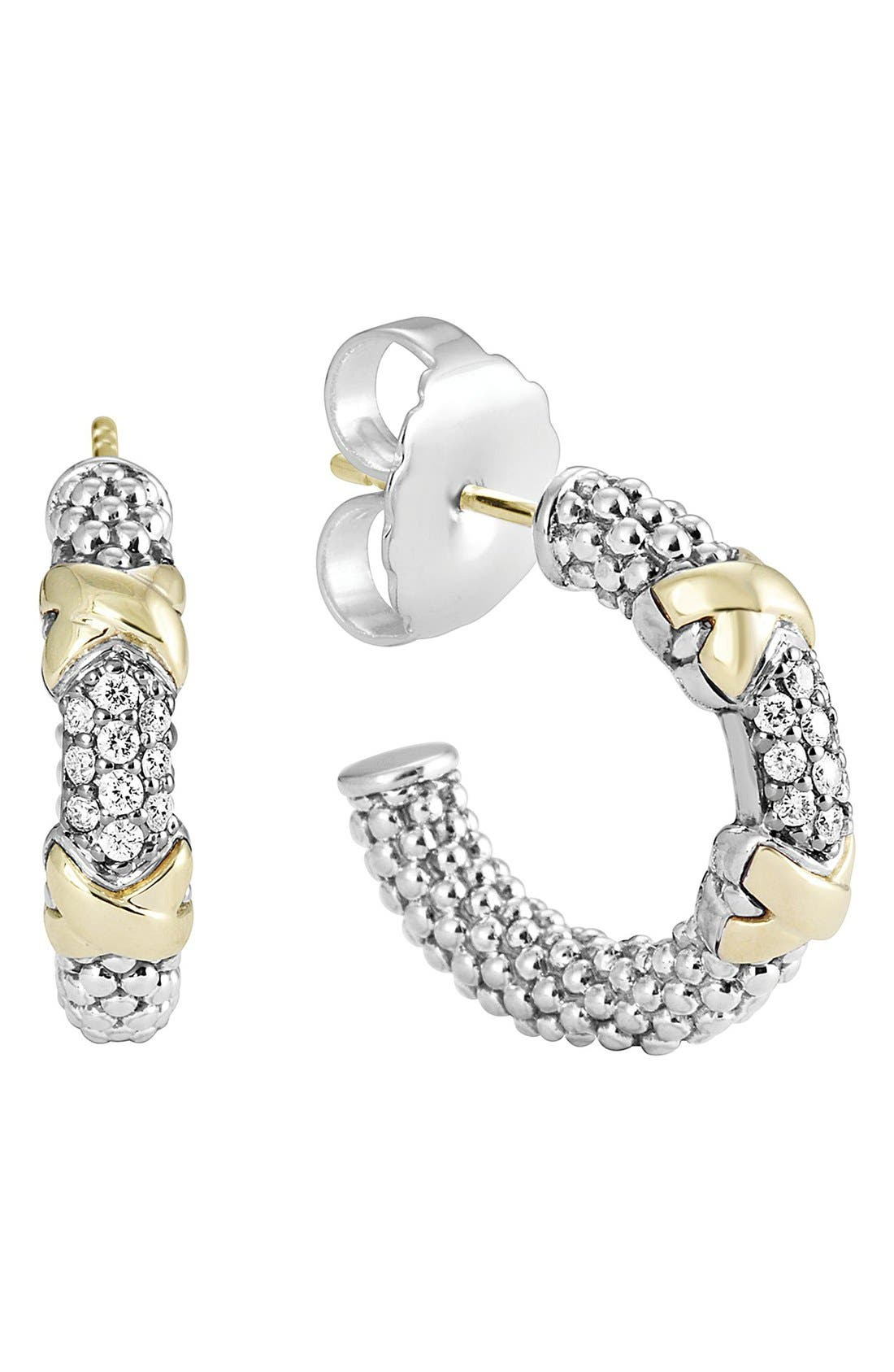 'Diamond Lux' Diamond Small Hoop Earrings,                             Main thumbnail 1, color,                             Silver/ Gold
