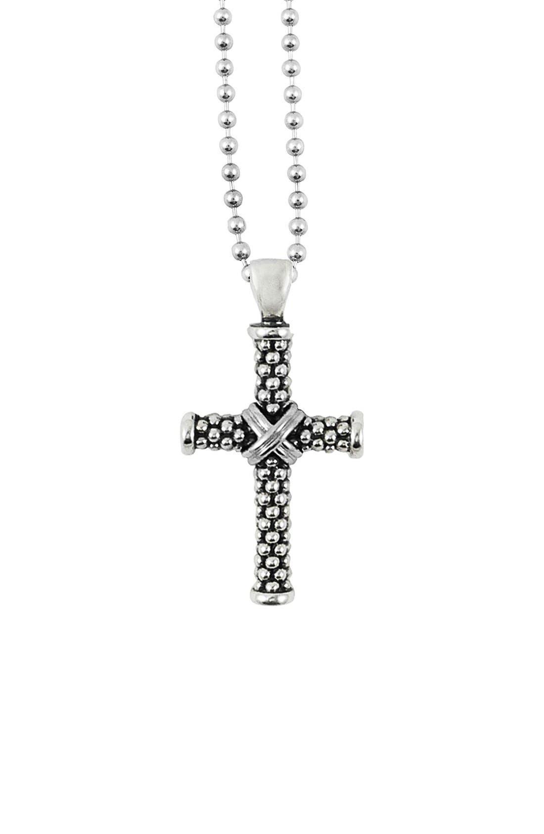 Caviar Long Pendant Necklace,                         Main,                         color, Cross