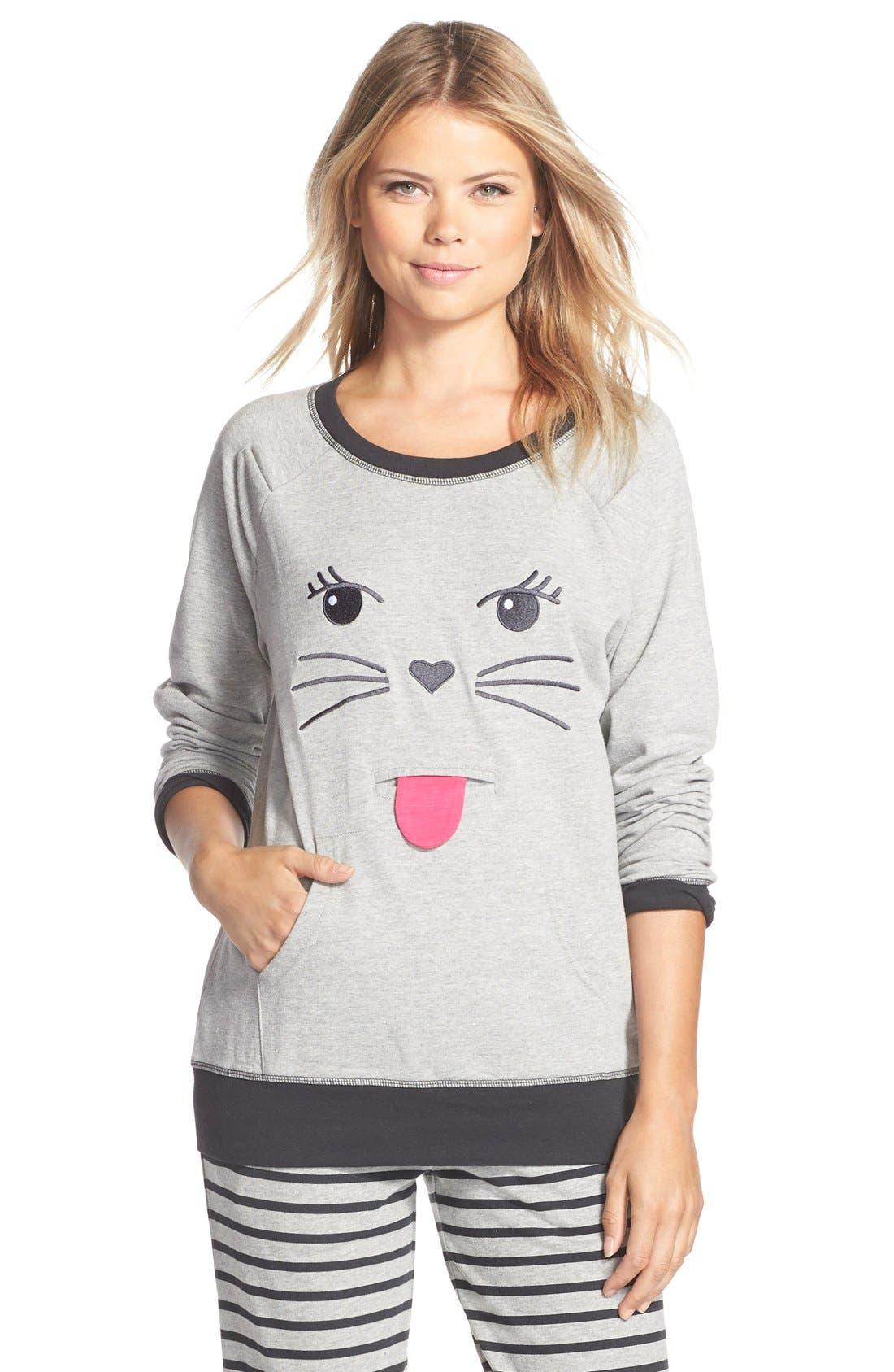 Alternate Image 1 Selected - COZY ZOE Cat Face Pullover Sweatshirt