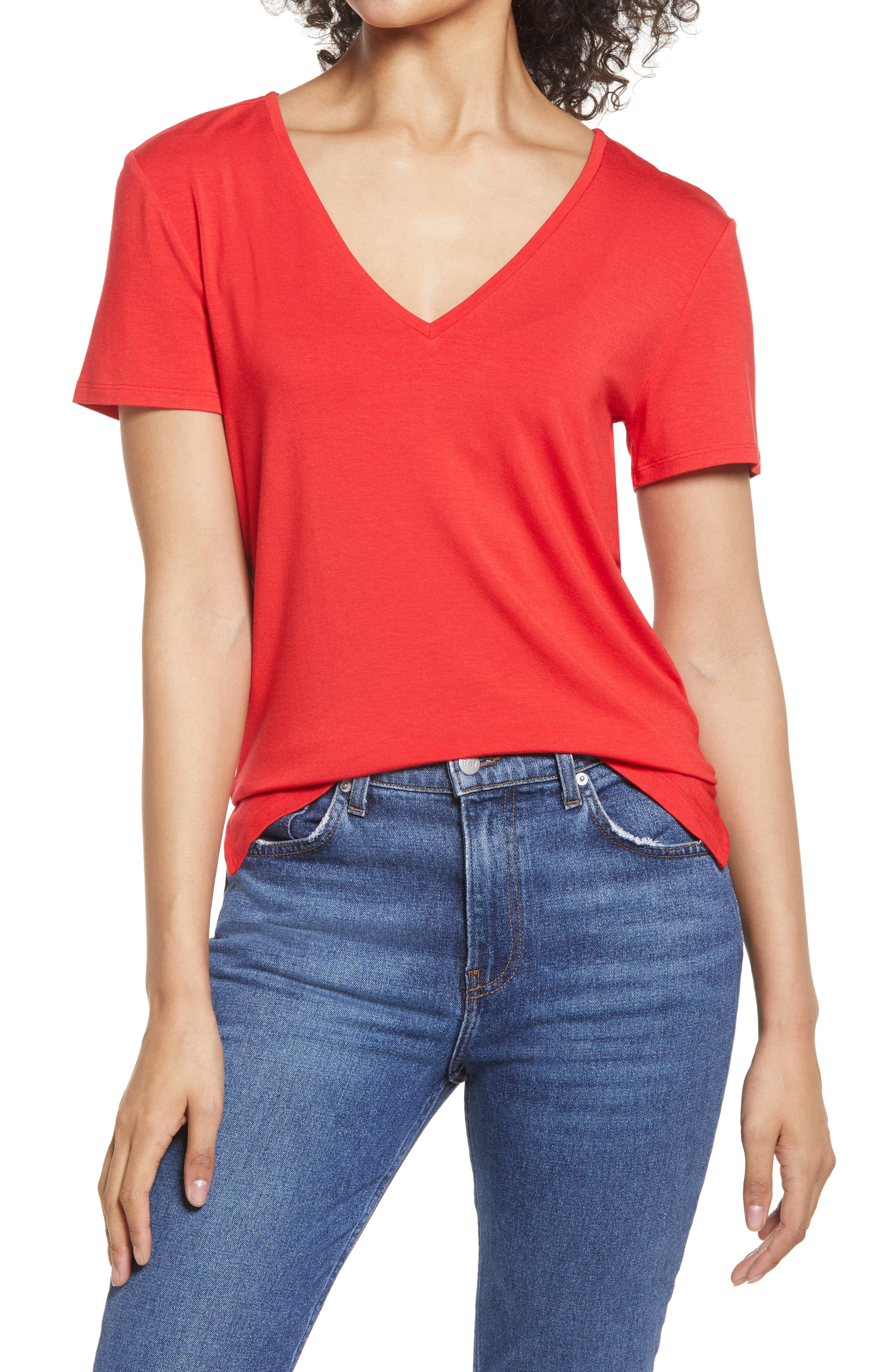 Ribbed Stretch V Neck Basic Long Baby Tee Shirt Top Women/'s Essential Wear tunic