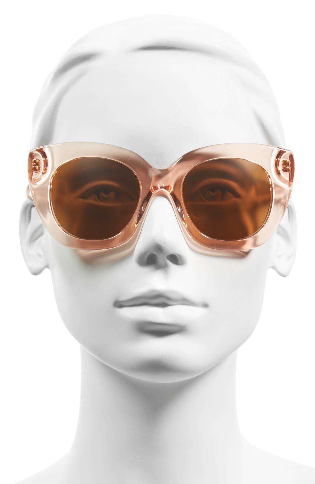 'narelle' 51mm retro sunglasses,                             Alternate thumbnail 2, color,                             Crystal Flamingo