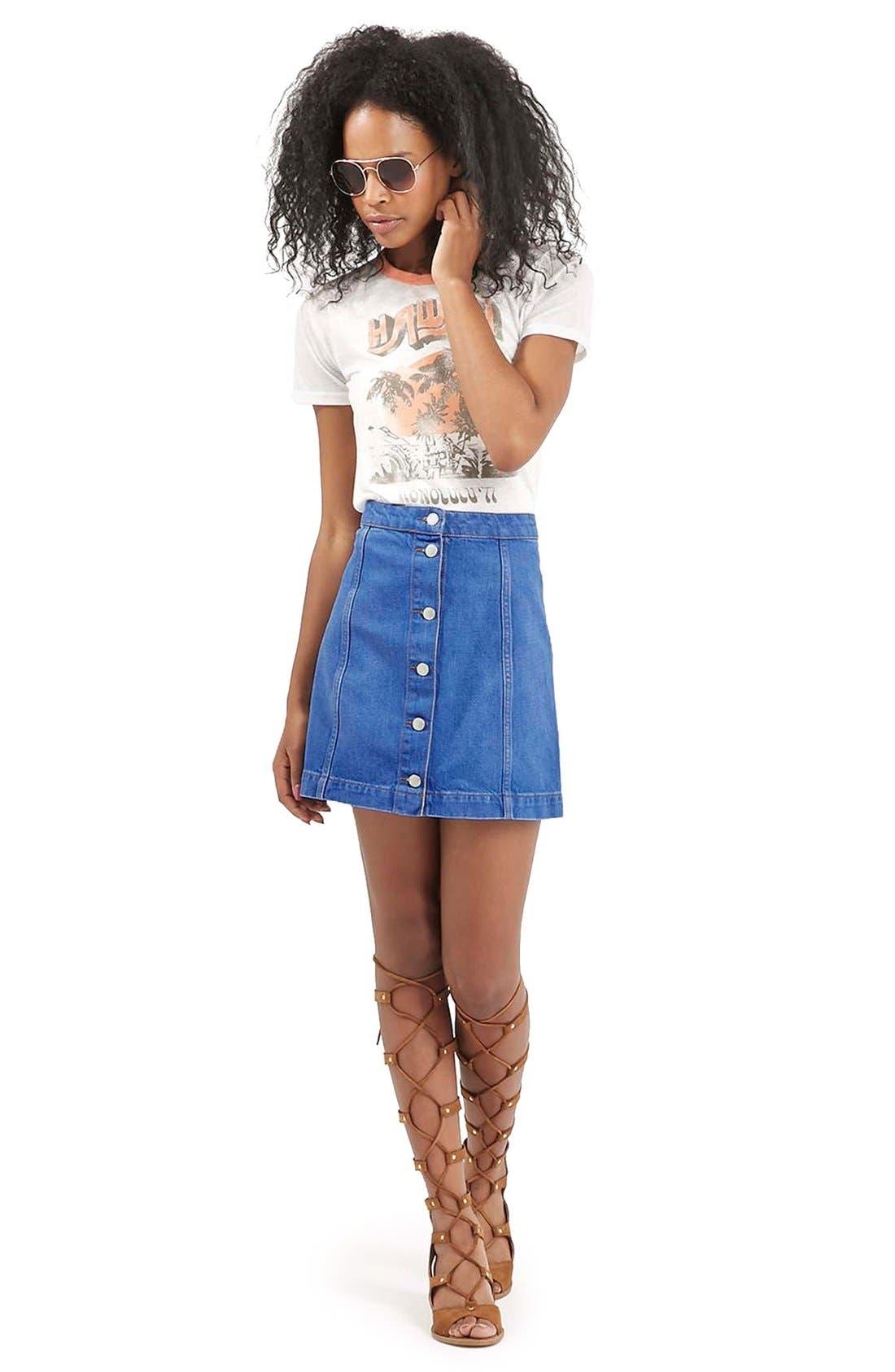 Alternate Image 2  - Topshop Moto Button Front A-Line Skirt (Bright Blue)