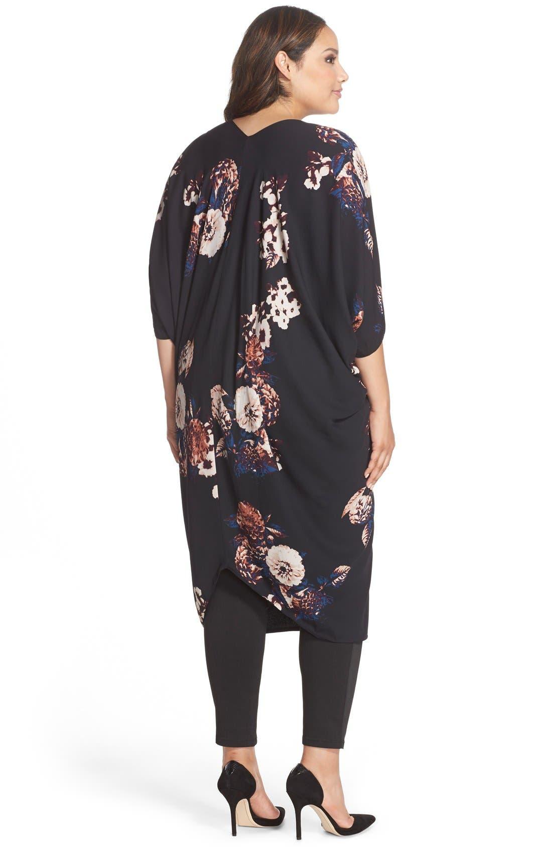 Print Reversible Kimono,                             Alternate thumbnail 2, color,                             Black/ Floral Print