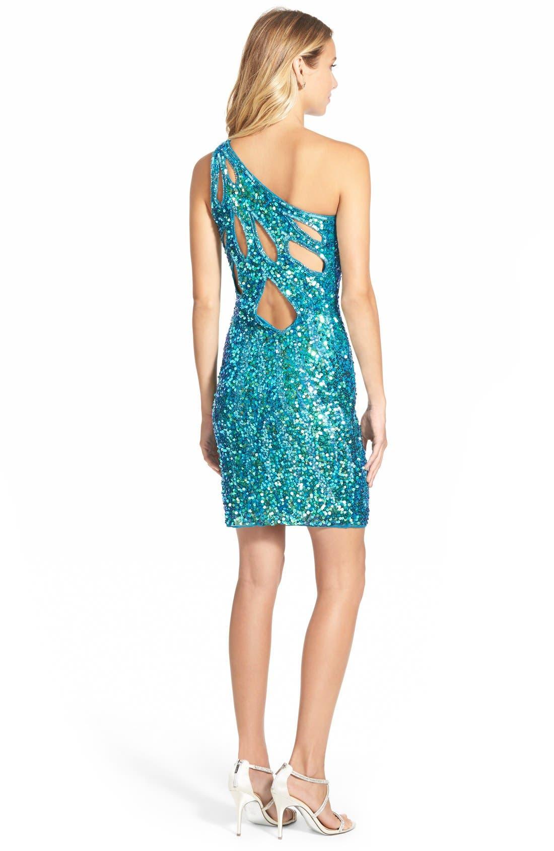 Alternate Image 2  - Mac DuggalSequin One-Shoulder Body-Con Dress