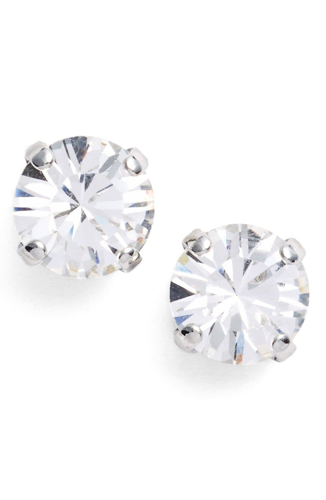'Grace' Crystal Stud Earrings,                             Main thumbnail 1, color,                             Crystal/ Silver