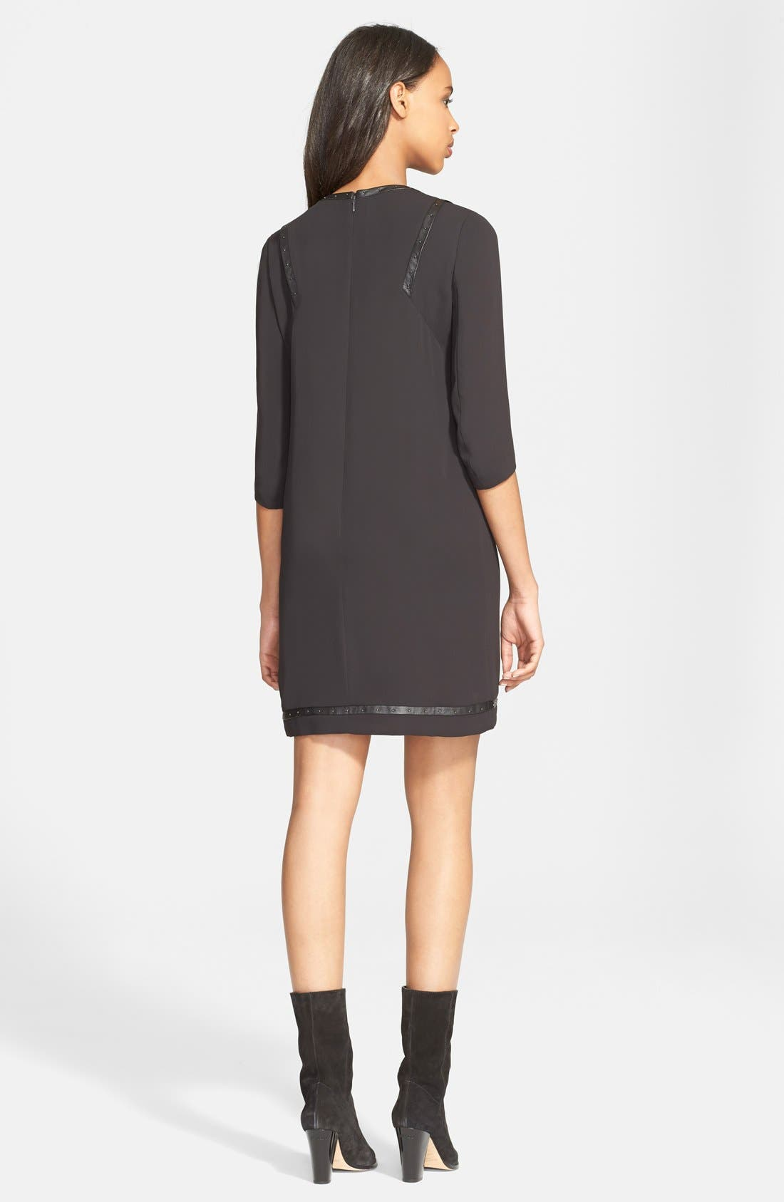 Alternate Image 2  - The Kooples Studded Faux Leather Trim Crepe Shift Dress