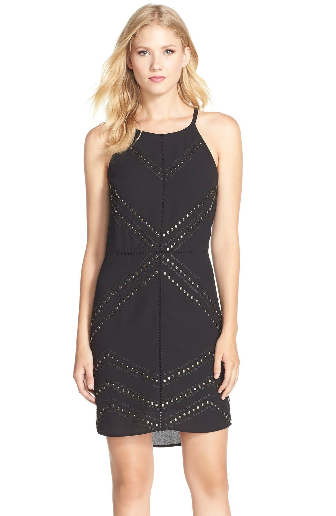 Adelyn Rae Embellished Chiffon Sheath Dress,                         Main,                         color, Black