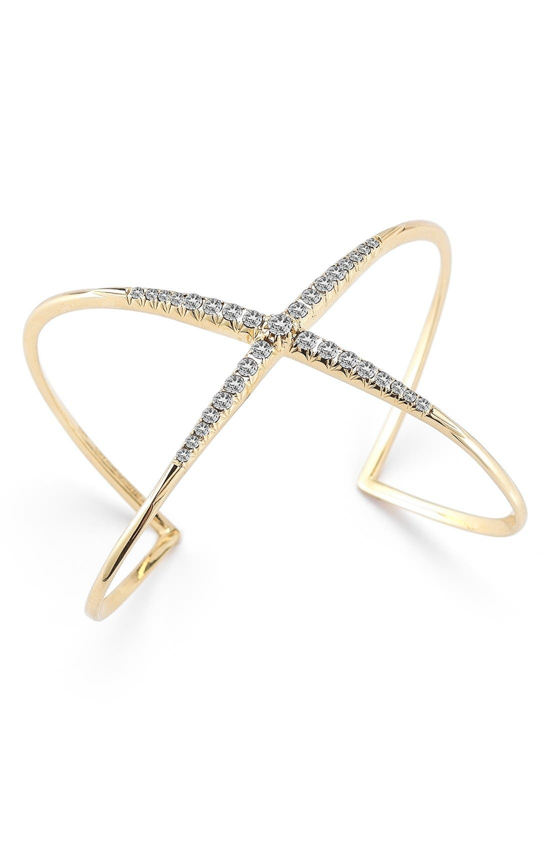 Windrose Pavé Crossover Cuff,                             Main thumbnail 1, color,                             Gold