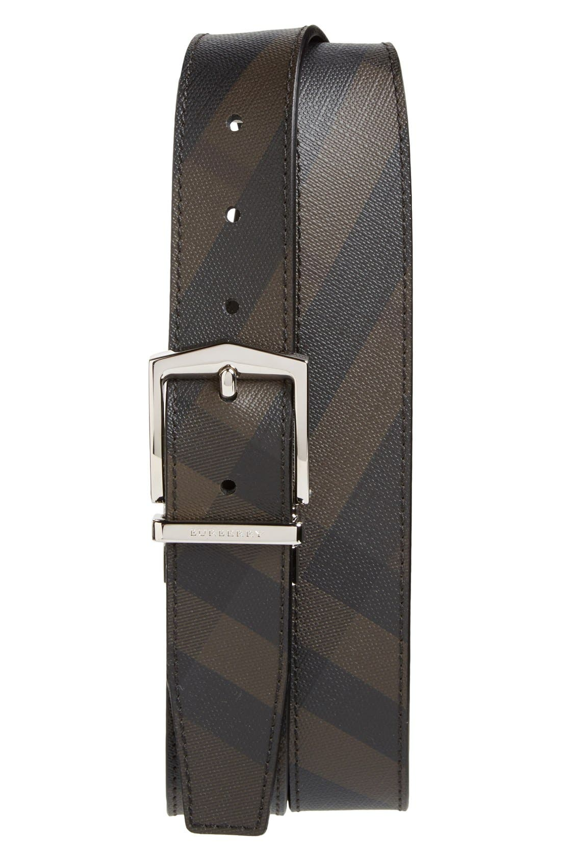 'Joel' Check Pattern Belt,                             Main thumbnail 1, color,                             Black