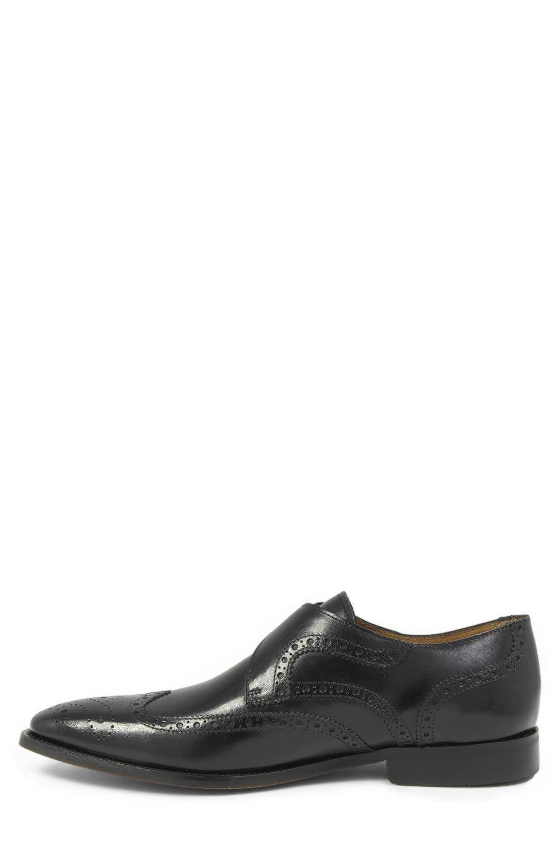 'Sabato' Wingtip Monk Strap Shoe,                             Alternate thumbnail 2, color,                             Black