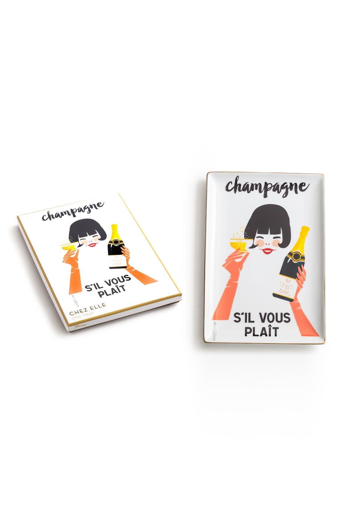'Champagne S'il Vous Plaît' Porcelain Tray,                             Main thumbnail 1, color,                             White