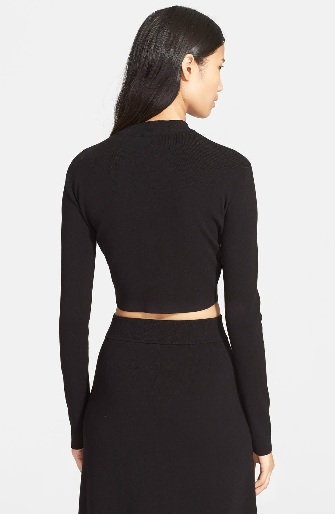 'Ford' Crop Sweater,                             Alternate thumbnail 2, color,                             Black
