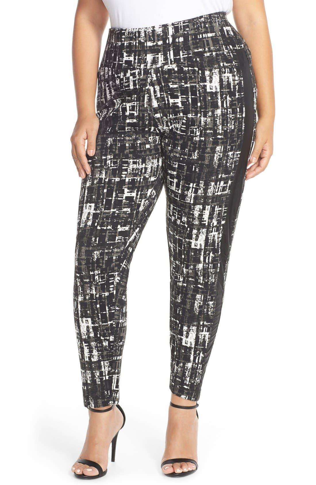 Tuxedo Stripe Ponte Pants,                         Main,                         color, Off White/ Urban Jungle