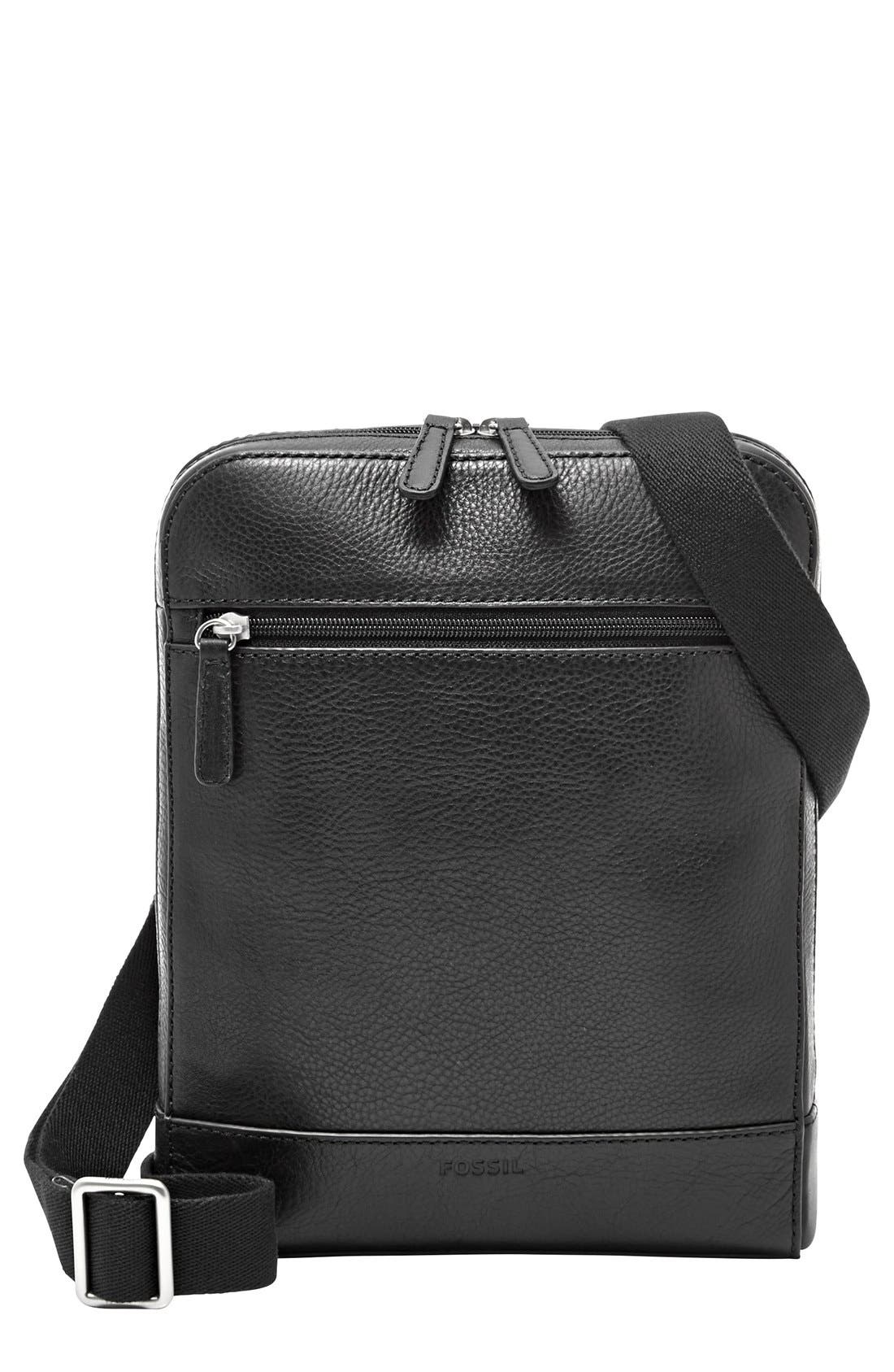 'Rory' Leather Crossbody Bag,                             Main thumbnail 1, color,                             Black