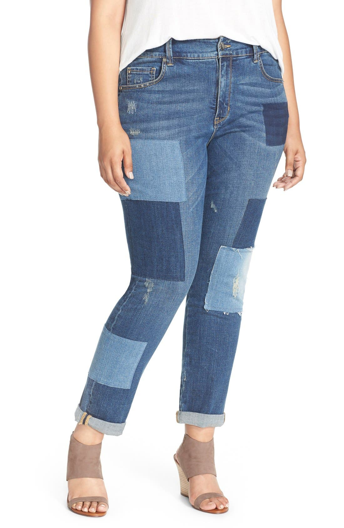 Main Image - Melissa McCarthy Seven7 Patch Detail Roll Cuff Girlfriend Jeans (Plus Size)
